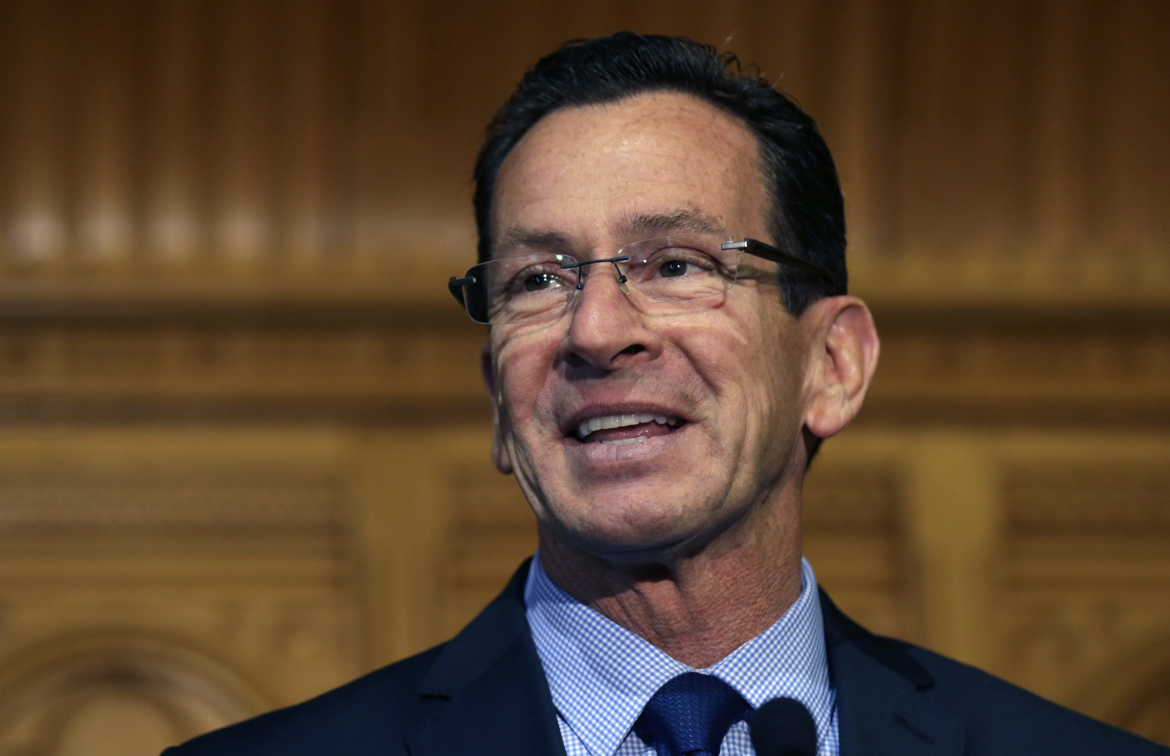 Dannel Malloy smiles as he thanks supporters at the State House in Hartford, CT, on Nov. 5, 2014.
