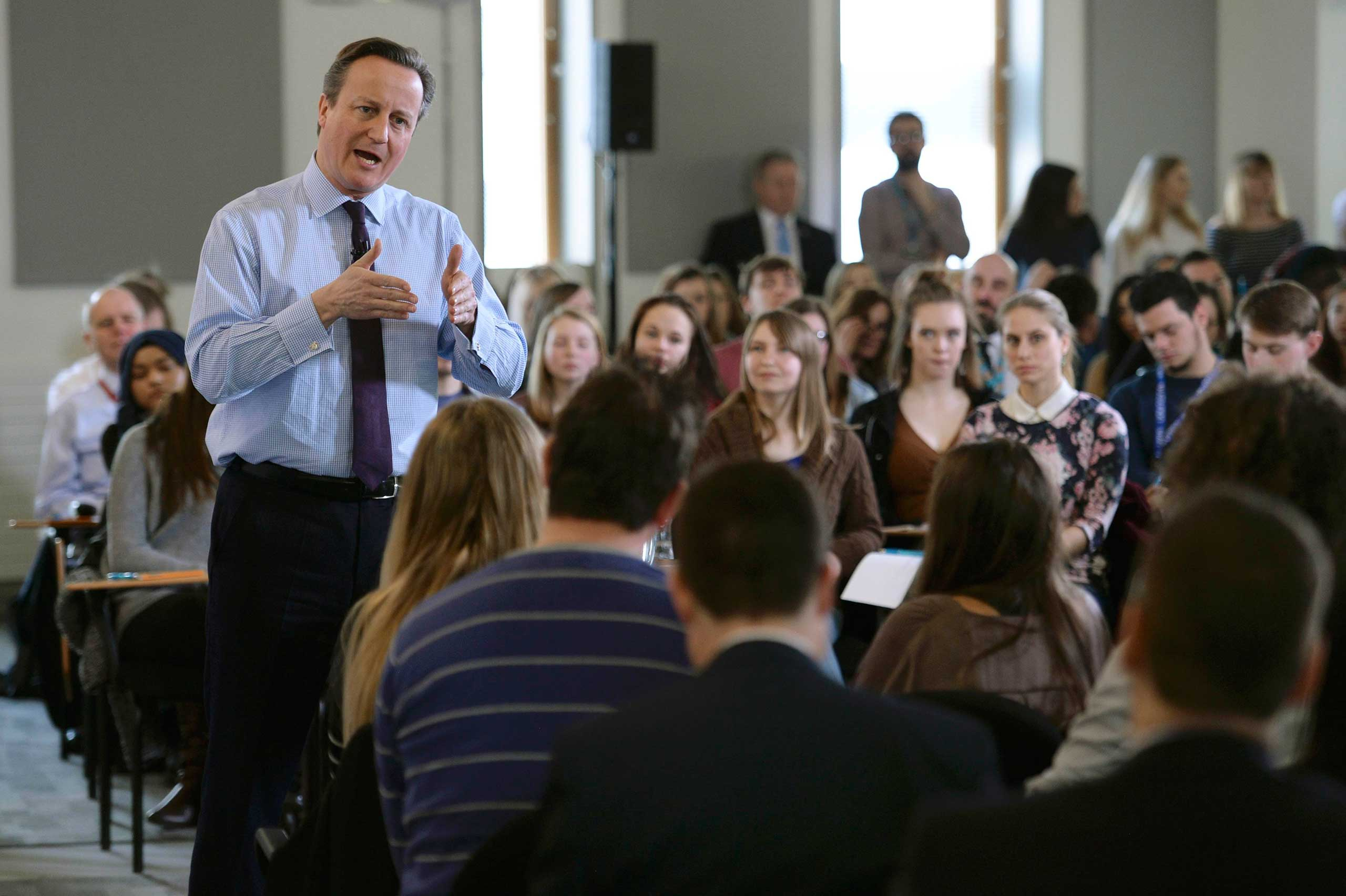 British Prime Minister David Cameron holds a question and answer session with students at University Campus Suffolk in Ipswich, Britain Feb. 29, 2016.