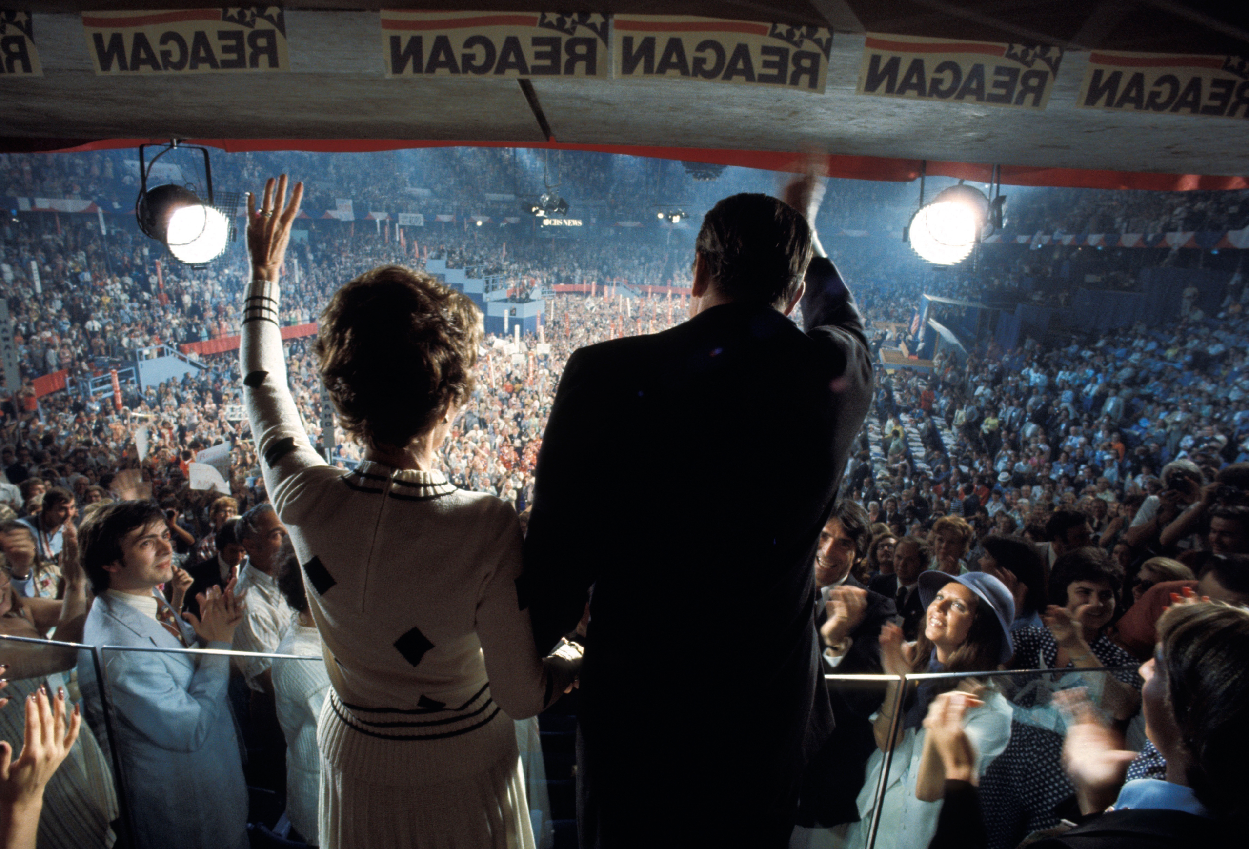 The Reagans wave to the crowd at the 1976 GOP Convention in Kansas City, where he narrowly lost the nomination to Ford