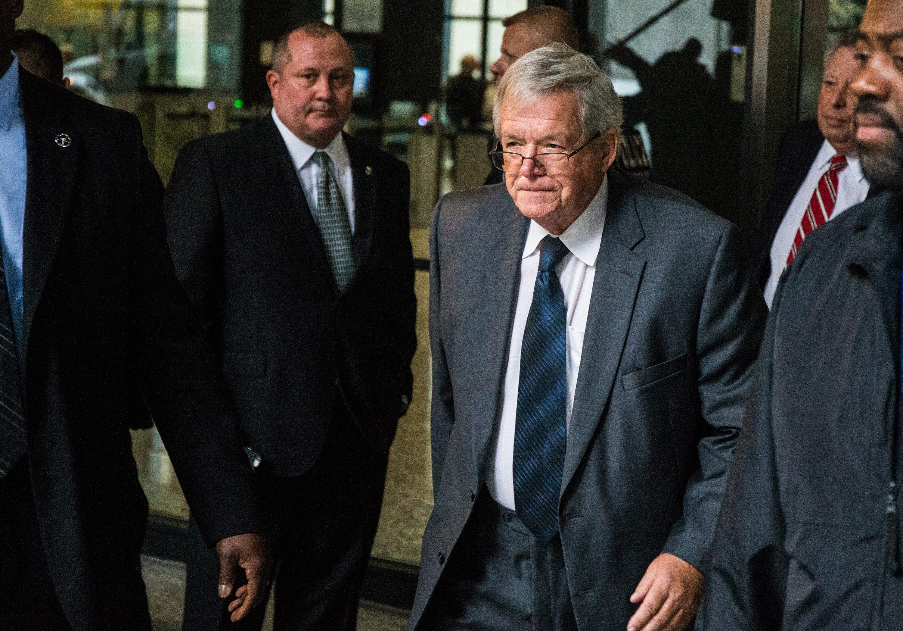 Former U.S. House Speaker Dennis Hastert leaves after a guilty plea at Dirksen U.S. Courthouse on Wednesday, Oct. 28, 2015 in Chicago.
