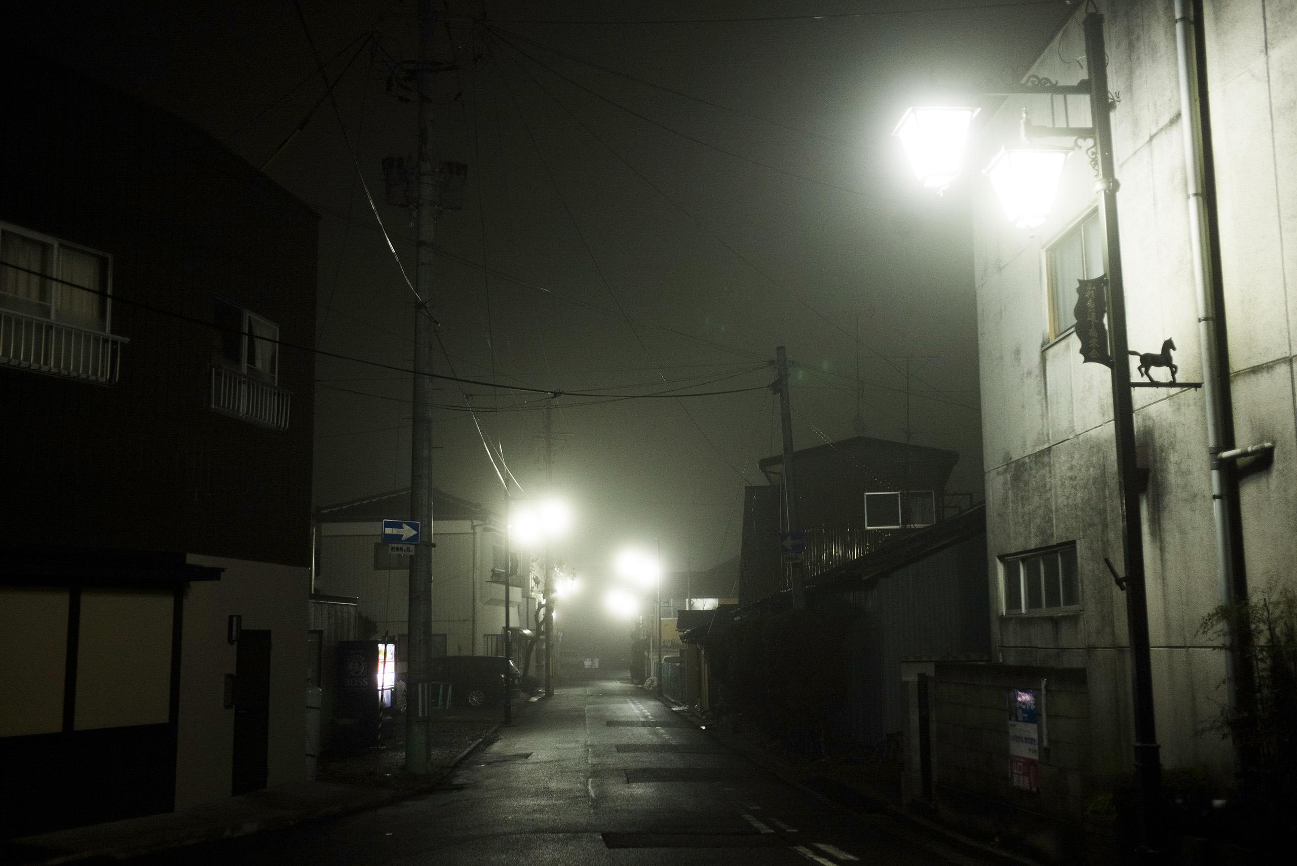 An empty street scene in Minamisoma, Fukushima, March 8, 2016.