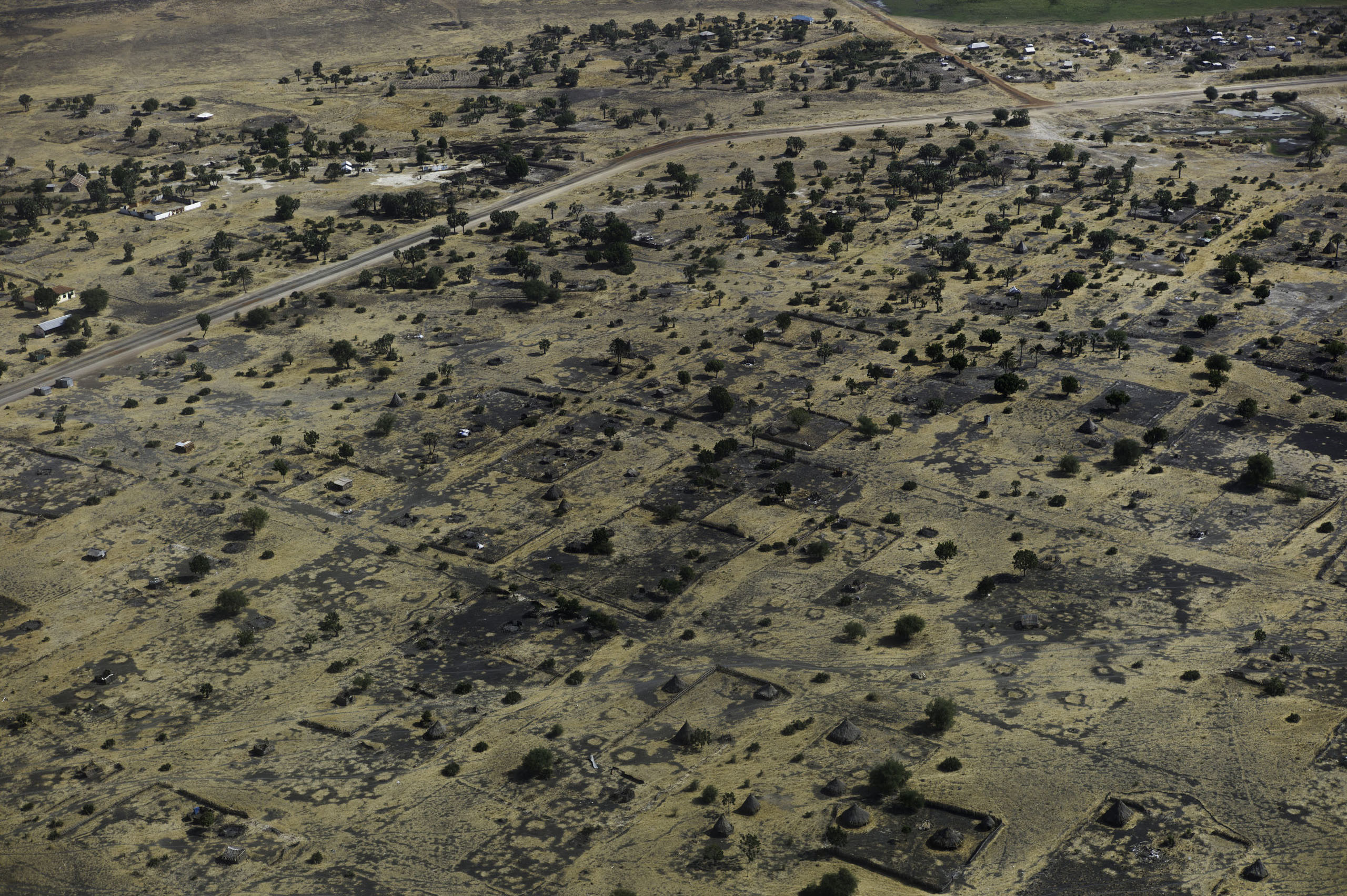 An aerial view of the empty and completely destroyed town of Leer, Unity State, South Sudan.
