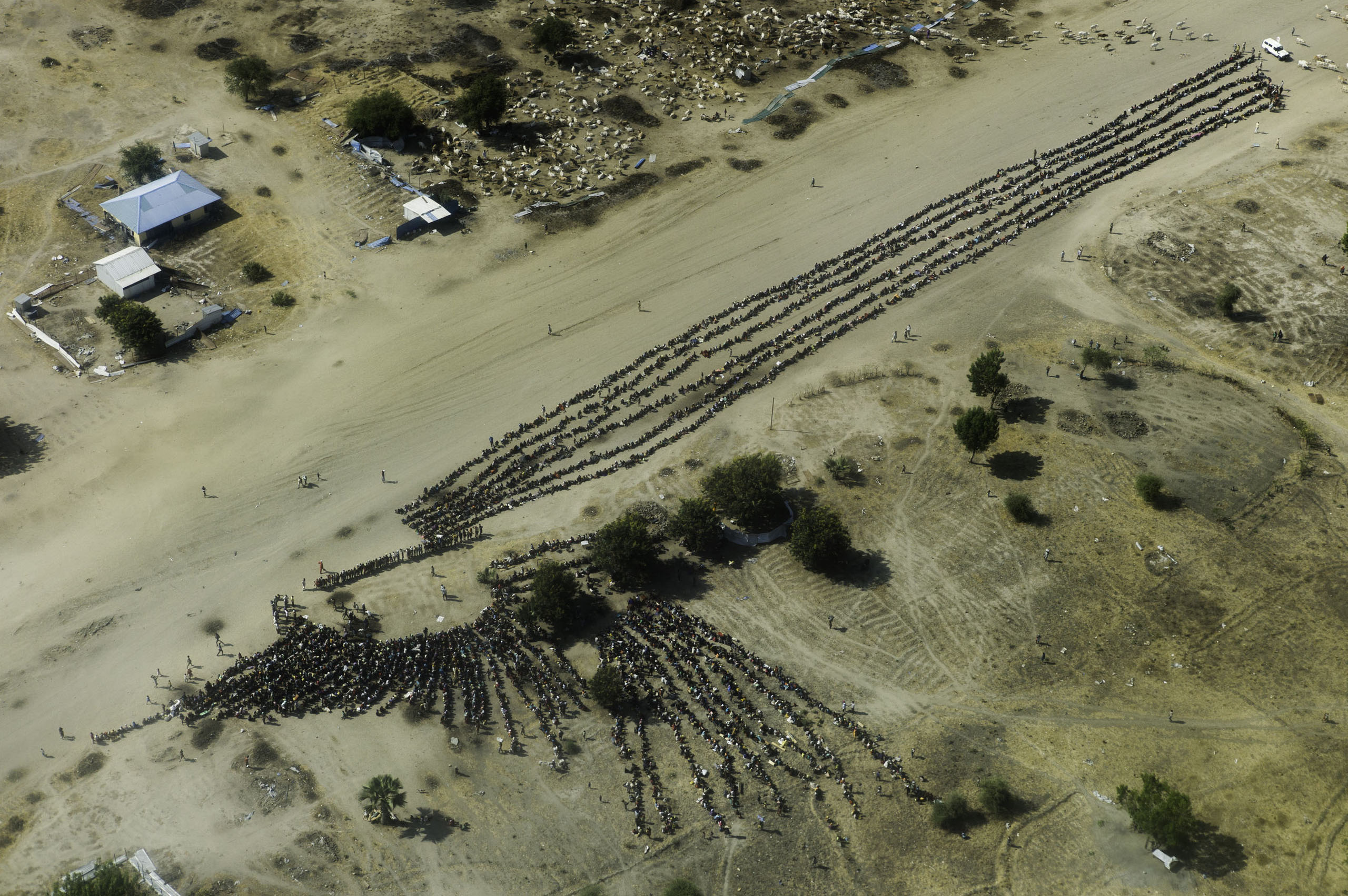 An aerial view of thousands of people waiting in line for food distribution in the otherwise empty and destroyed town of Leer, Unity State, South Sudan.