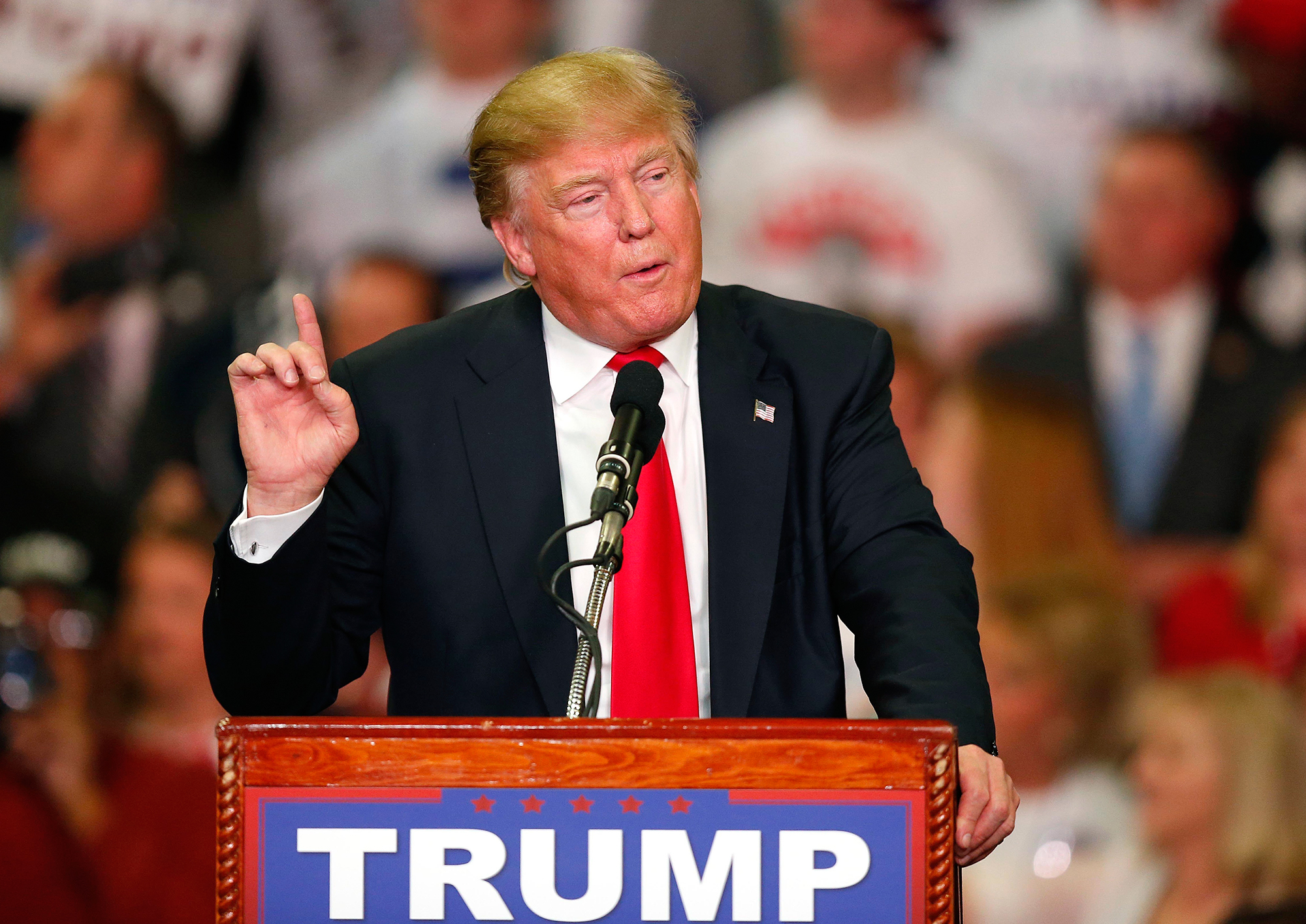 Donald Trump speaks during a campaign rally on March 7, 2016, in Madison, Miss.