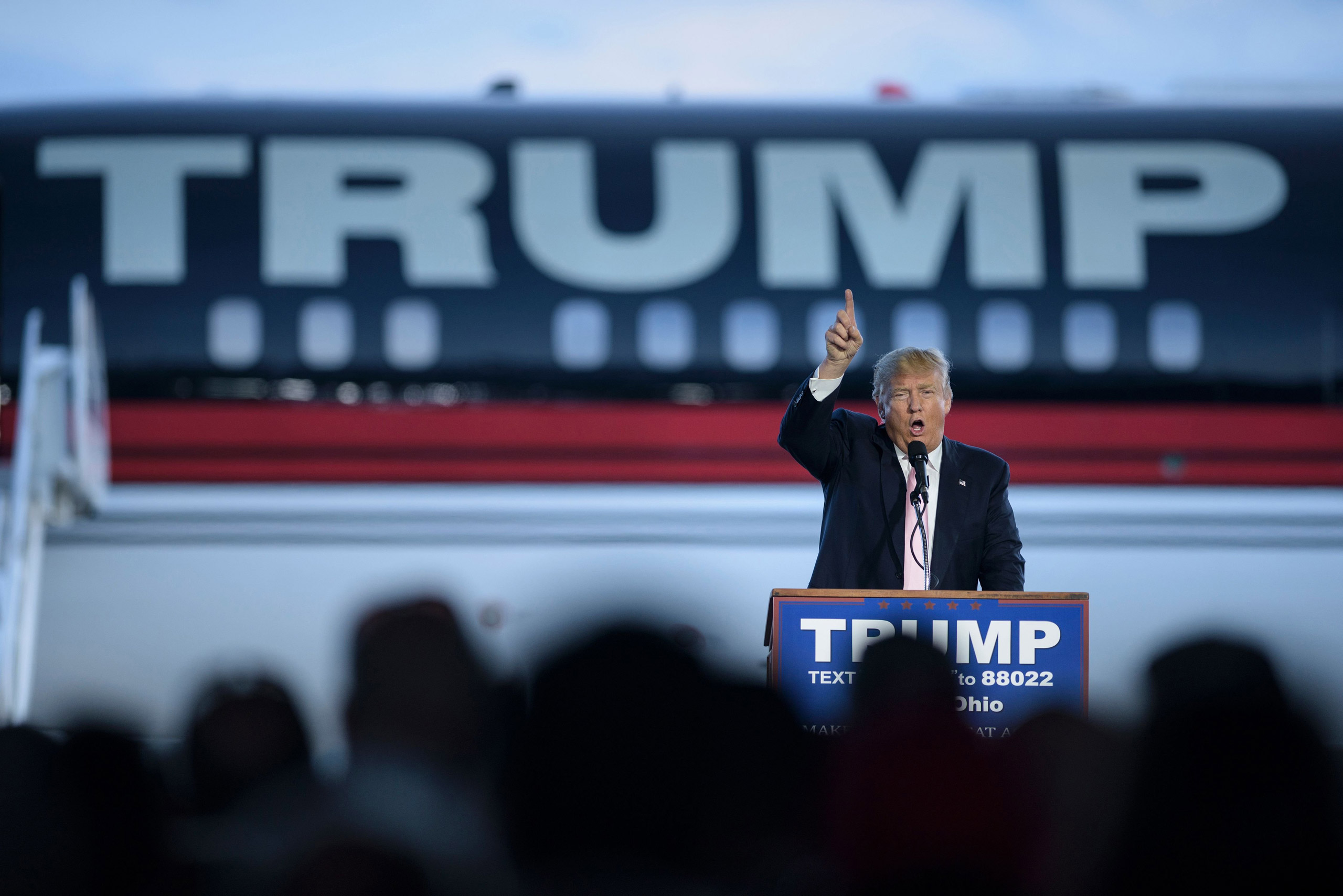 US presidential hopeful Donald Trump speaks during a rally March 14, 2016 in Vienna Center, Ohio.                     The six remaining White House hopefuls made a frantic push for votes March 14, 2016 on the eve of make-or-break nominating contests, with Donald Trump's Republican rivals desperate to bar his path after a weekend of violence on the campaign trail. / AFP PHOTO / Brendan SmialowskiBRENDAN SMIALOWSKI/AFP/Getty Images