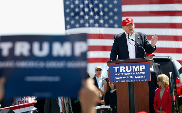 Republican presidential candidate Donald Trump speaks to guest gathered at Fountain Park during a campaign rally on March 19, 2016 in Fountain Hills, Arizona.