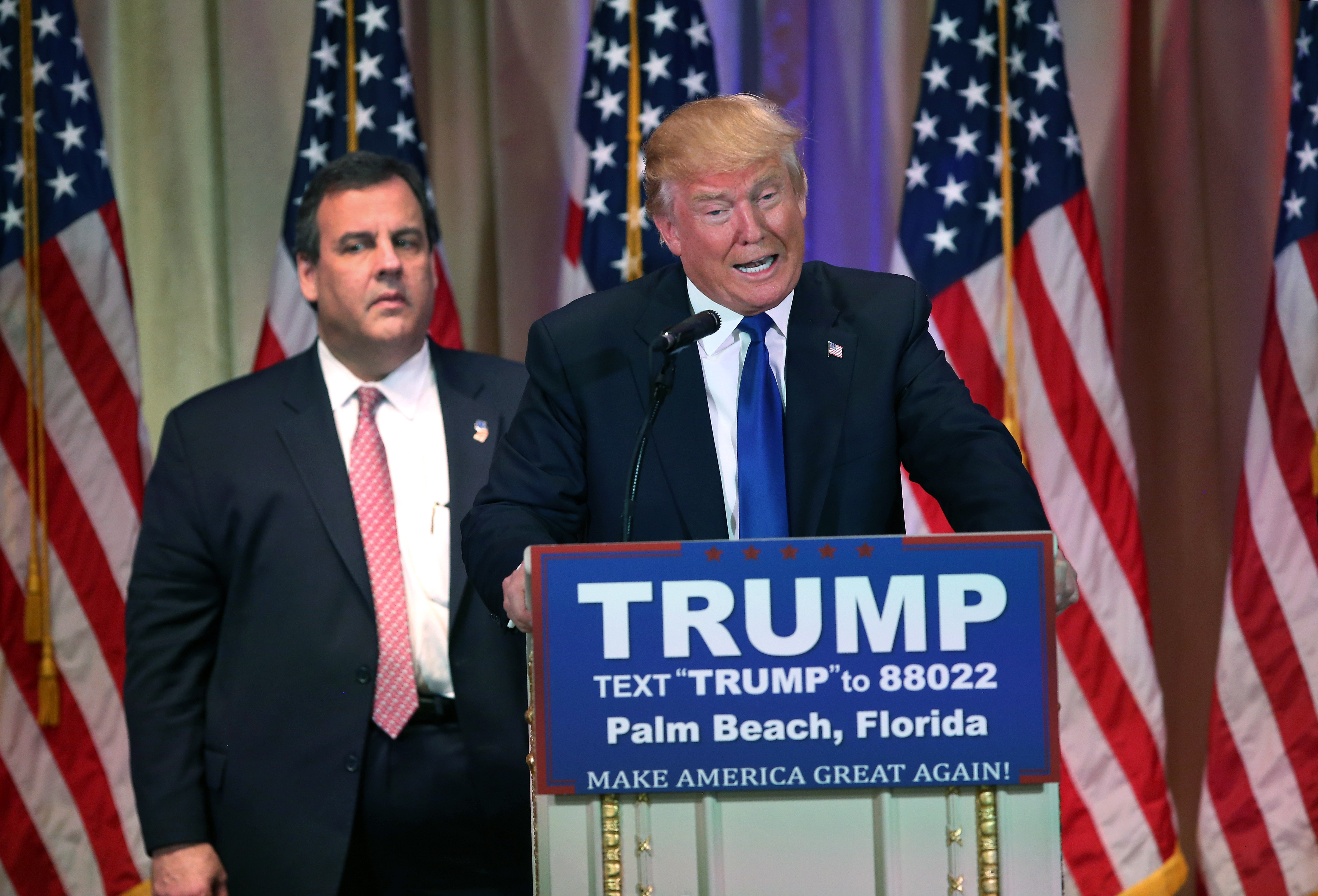 Chris Christie accompanies Donald Trump at a press conference on March 1, 2016 in Palm Beach, Fla.