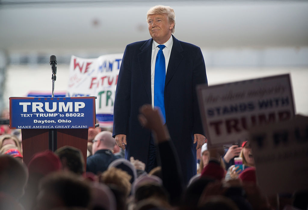 Donald Trump speaks at a campaign rally on March 12 in Vandailia, Ohio.