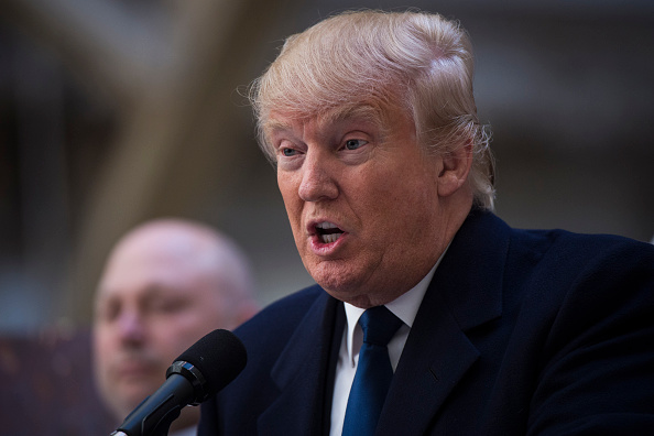 Republican presidential candidate Donald Trump speaks during a campaign press conference at the at the Old Post Office Pavilion, soon to be a Trump International Hotel, in Washington, D.C., March 21, 2016.