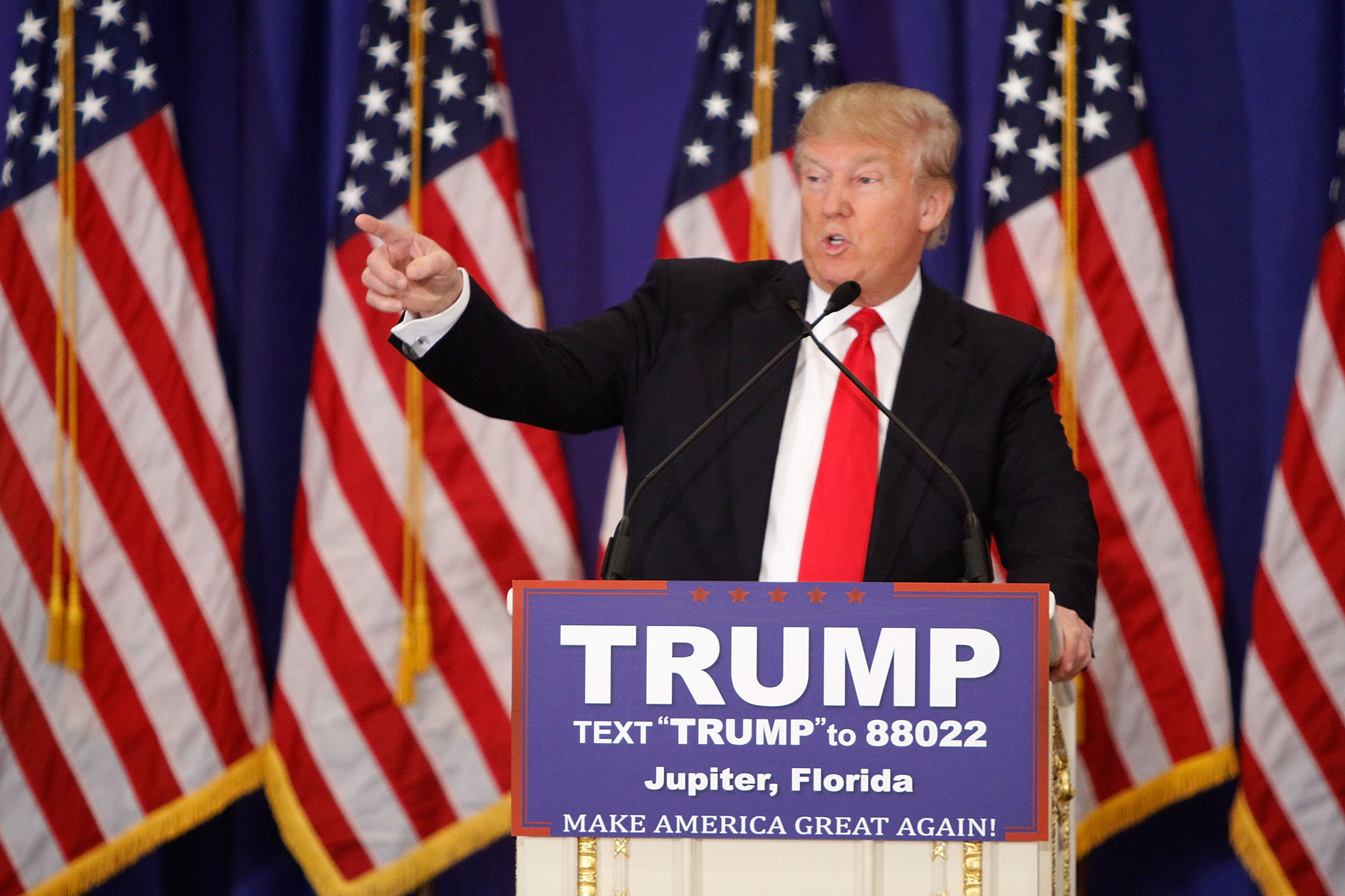 Donald Trump holds a press conference at Trump National Golf Club Jupiter on March 8 in Jupiter, Fla.