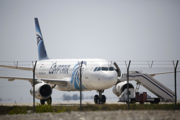 An EgyptAir Airbus A-320 sits on the tarmac of Larnaca airport after it was hijacked and diverted to Cyprus on March 29.