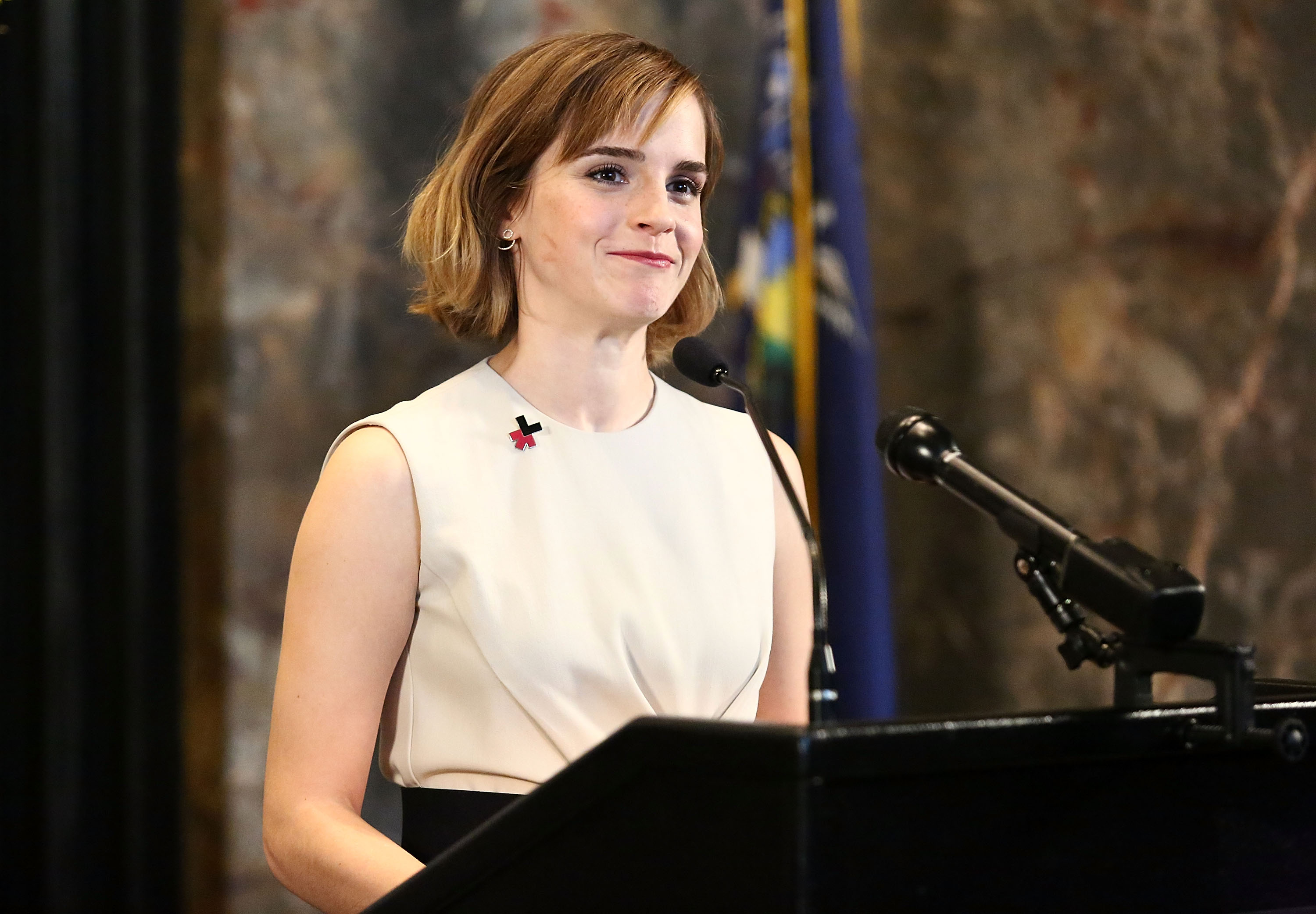 Emma Watson speaks during HeForShe Magenta For International Women's Day at The Empire State Building, in New York City, on March 8, 2016.