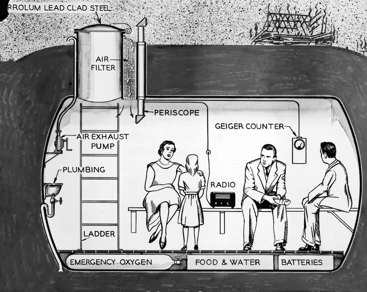Cross-section illustration depicting a family in their underground lead fallout shelter, equipped with a geiger counter, periscope, air filter, etc., early 1960s.