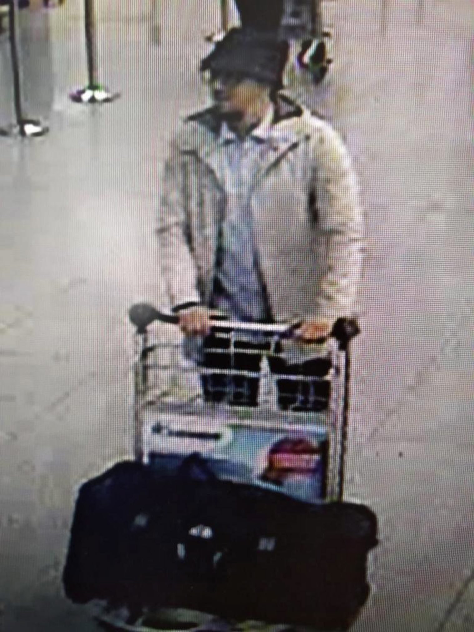 CCTV grab of a suspect in the Zaventem airport attack in Brussels on March 22, 2016. The man was previously believed to be Fayçal Cheffou, who has now been released due to a lack of evidence