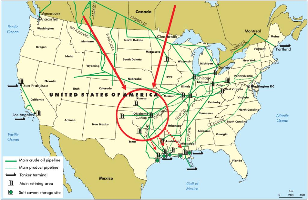 Figure 3. Cushing Oklahoma pipeline terminal map. (Source: International Energy Agency)