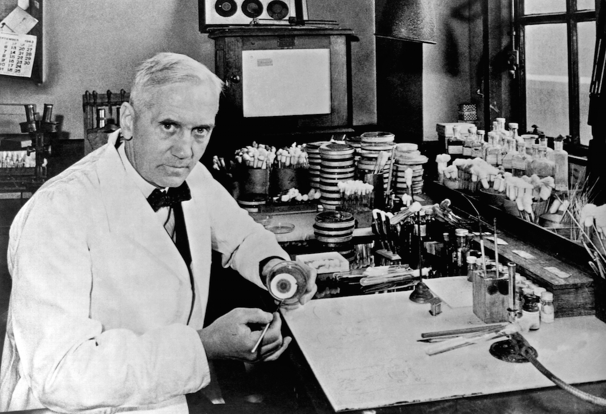 Sir Alexander Fleming, the a Scottish biologist, pharmacologist and botanist who discovered Penicillin, seen in 1943.