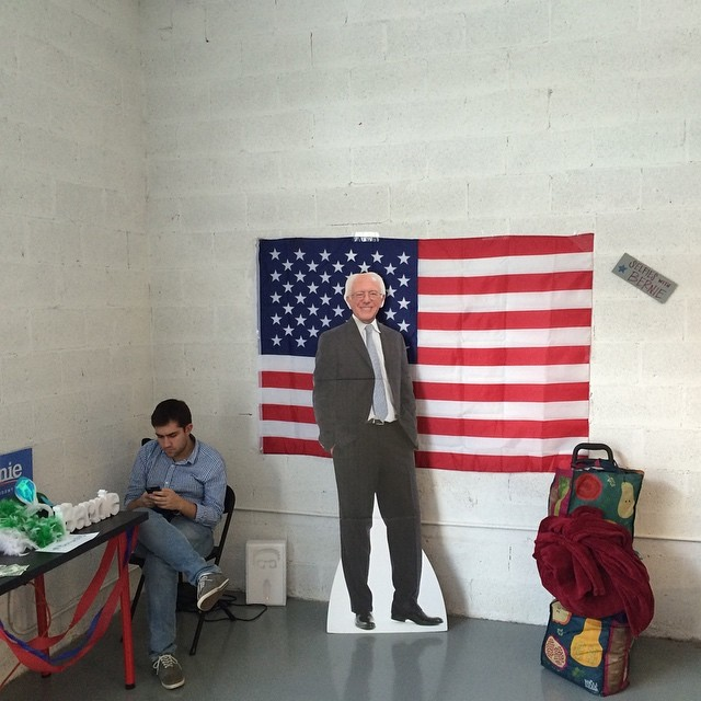 A selfie station is set up at the Miami headquarters of Democratic presidential candidate, Vermont Sen. Bernie Sanders as Floridians head to the polls to vote in the 2016 presidential primaries on March 15, 2016.