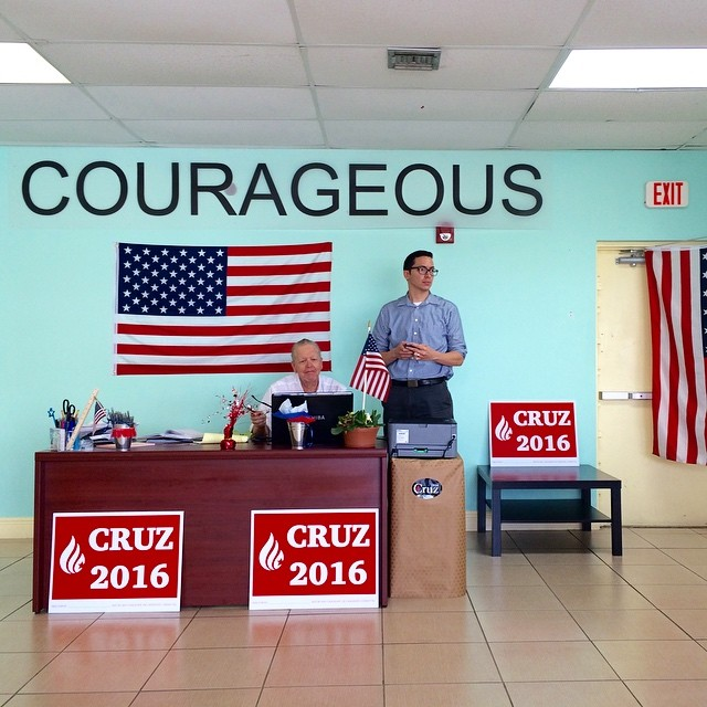 Manny Roman and Mark Dienstag, the Chair and Co-Chair of Miami-Dade Cruz for President volunteer at the Miami headquarters for Republican presidential candidate, Texas Sen. Ted Cruz on March 15.