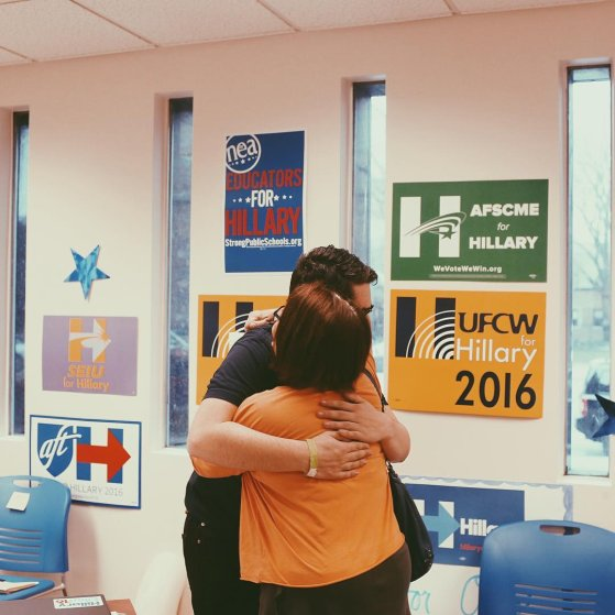 Benita Kahn, right, hugs Clinton campaign fellow Harrison Bronfeld at the Hillary Clinton Campaign Office before phonebanking in Columbus, Ohio.I'm Andy Spear (@andyspear) photographing from Ohio as the state goes to the polls to vote in the 2016 Presidential Primaries. #election2016 #hillaryclinton