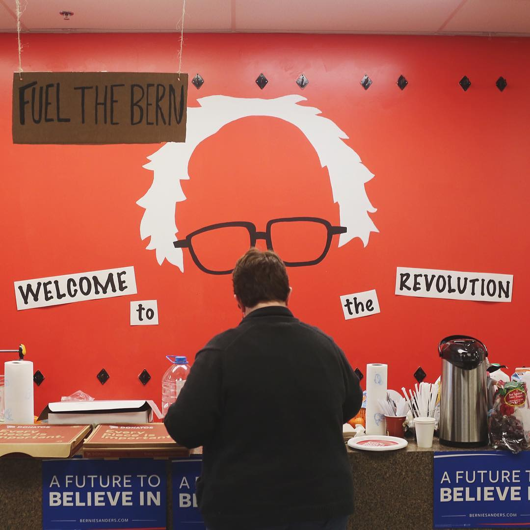 A volunteer grabs coffee and snacks at Bernie Sanders' campaign office in Columbus, Ohio on March 15.