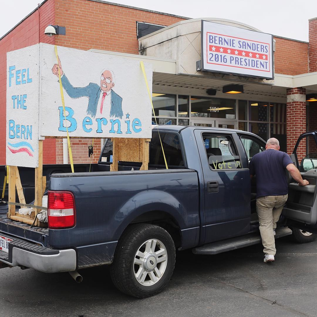 A supporter's truck is parked outside of Bernie Sanders' campaign office in Columbus, Ohio on March 15.