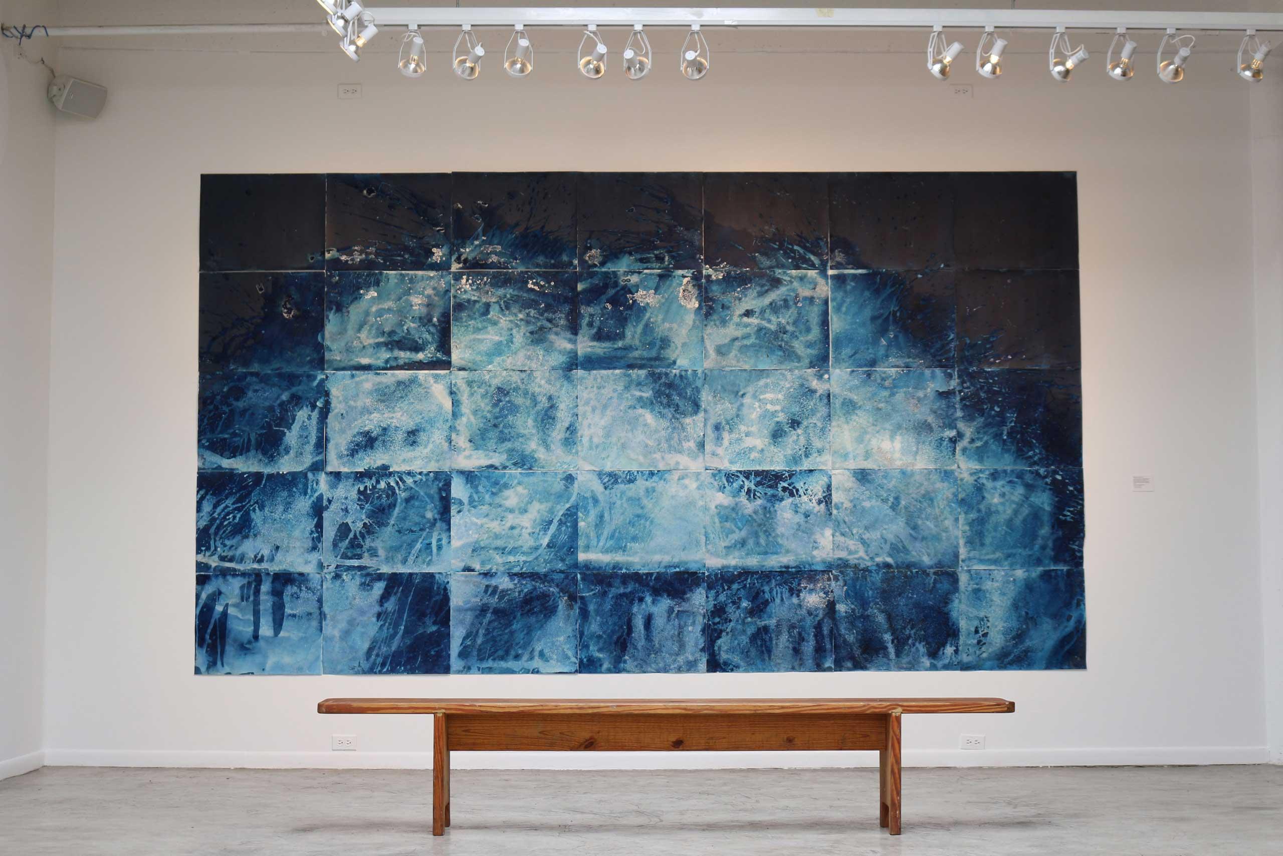 Meghann Riepenhoff's Littorial Drift exhibit at FotoFest's Discoveries of the Meeting Place exhibit.