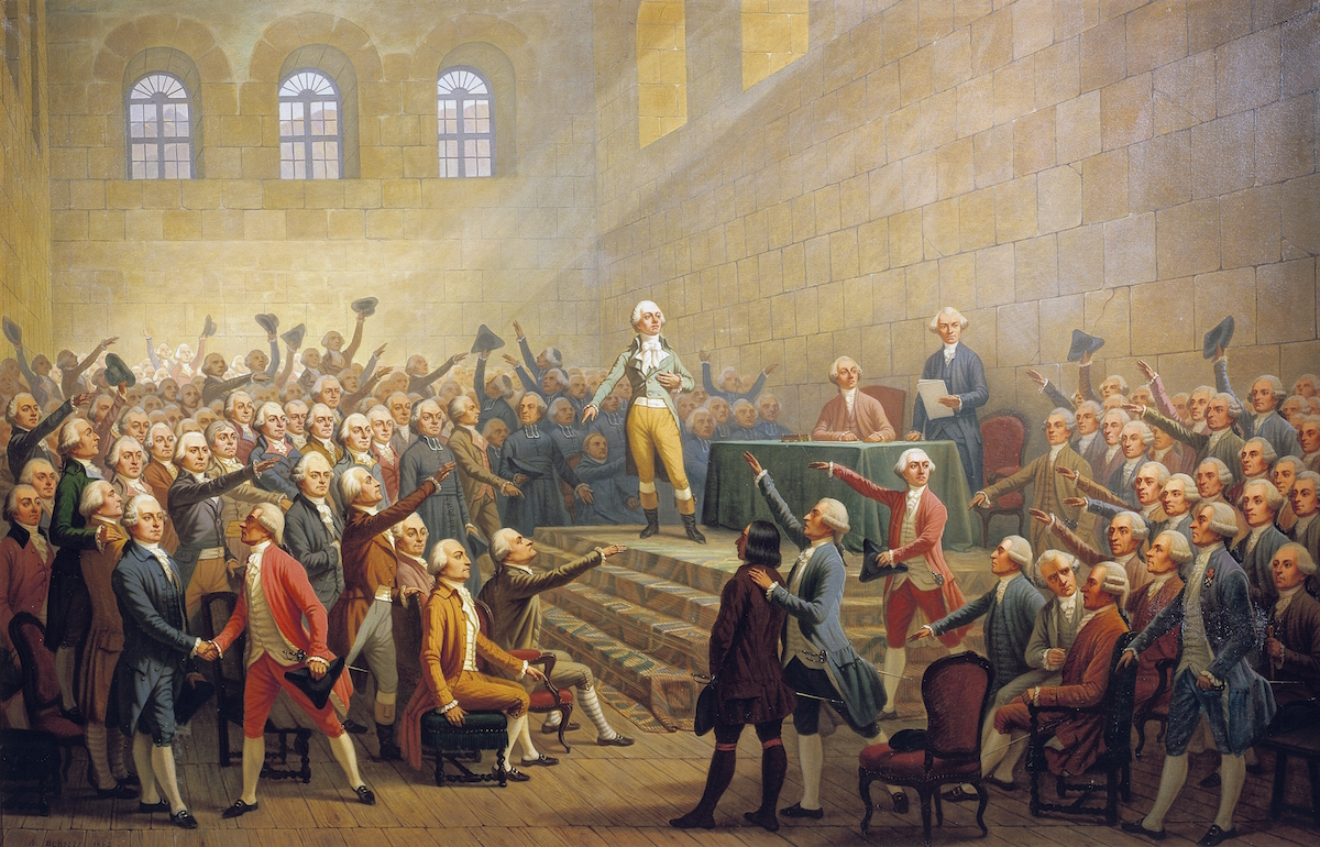 Assembly during the French Revolution, painting by Alexandre Debelle (1805-1897). France, 18th century.