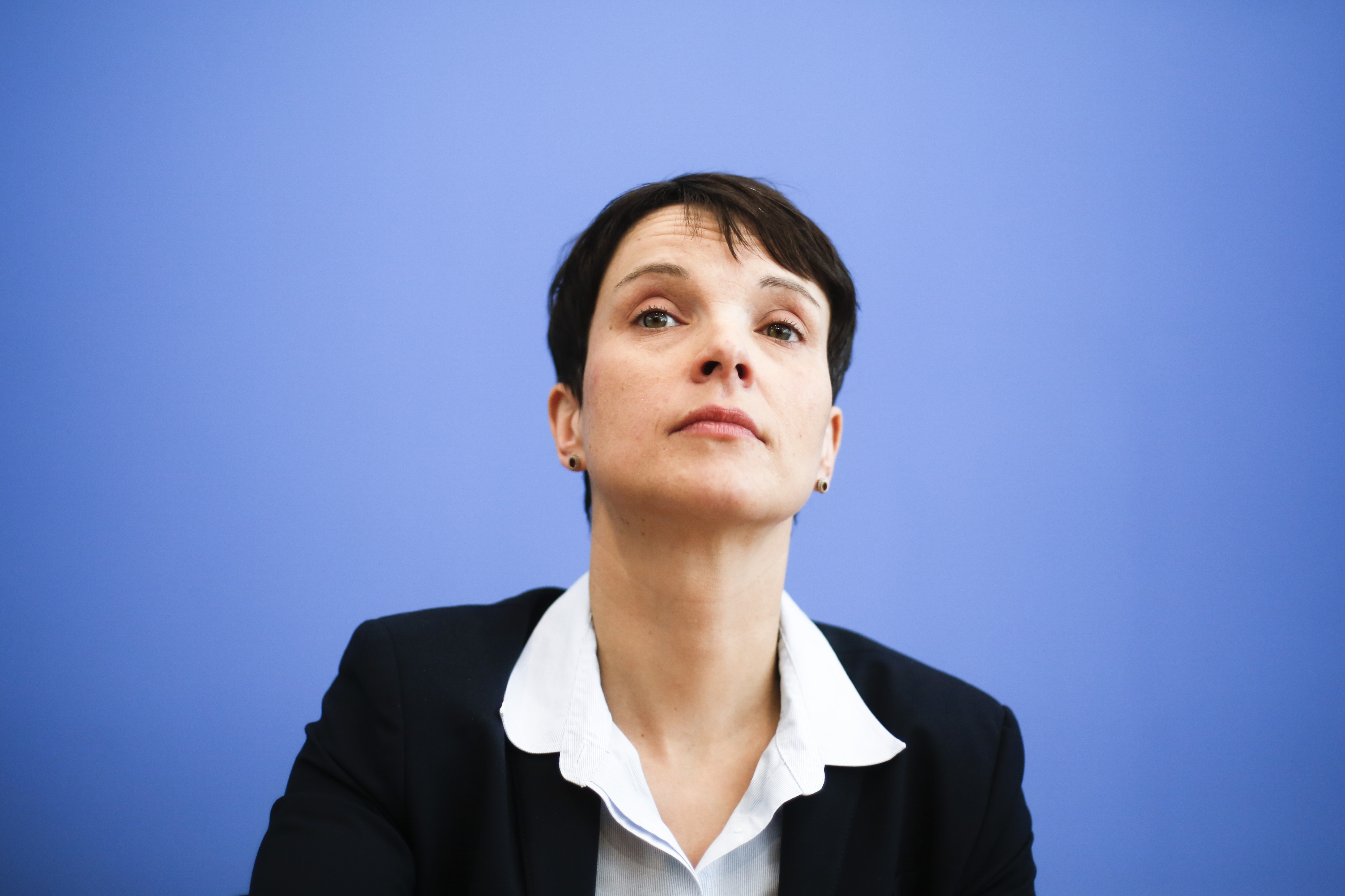 Frauke Petry, chairwoman of the right-populist party AfD, Alternative for Germany, addresses a news conference in Berlin on March 14, 2016.