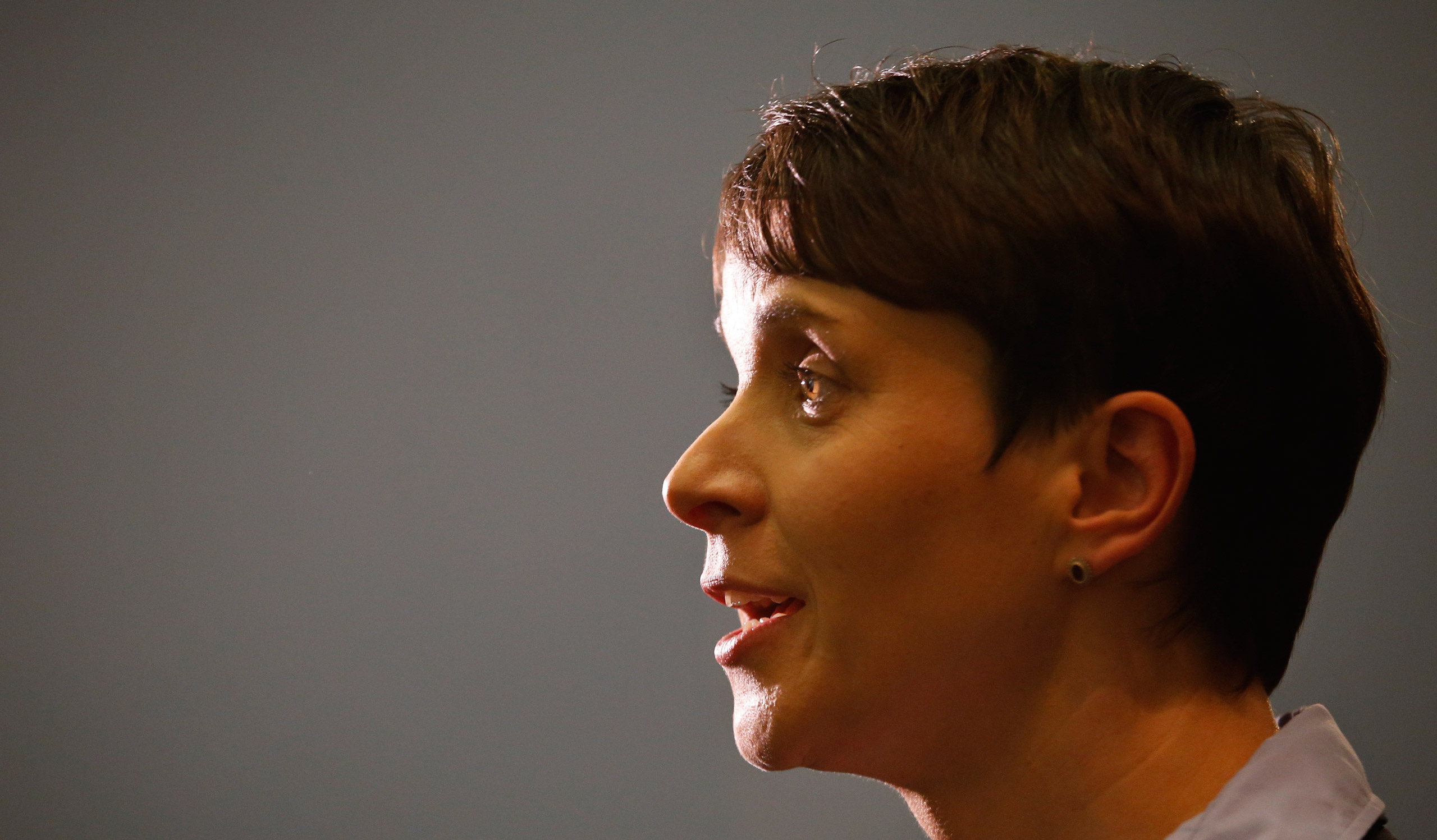 Frauke Petry, chairwoman of the anti-immigration party Alternative for Germany (AfD) talks to the media after first exit polls in three regional state elections in Berlin on March 13, 2016.