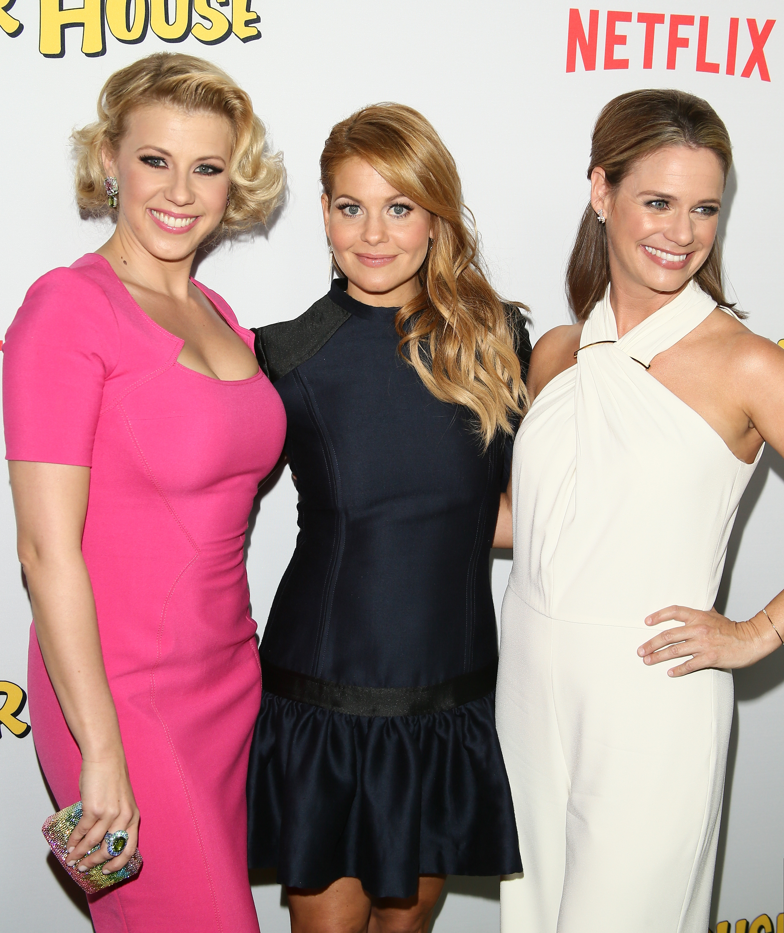 Candace Cameron-Bure, Jodie Sweetin and Andrea Barber attend the premiere of Netflix's 'Fuller House' on February 16, 2016 in Los Angeles, California.