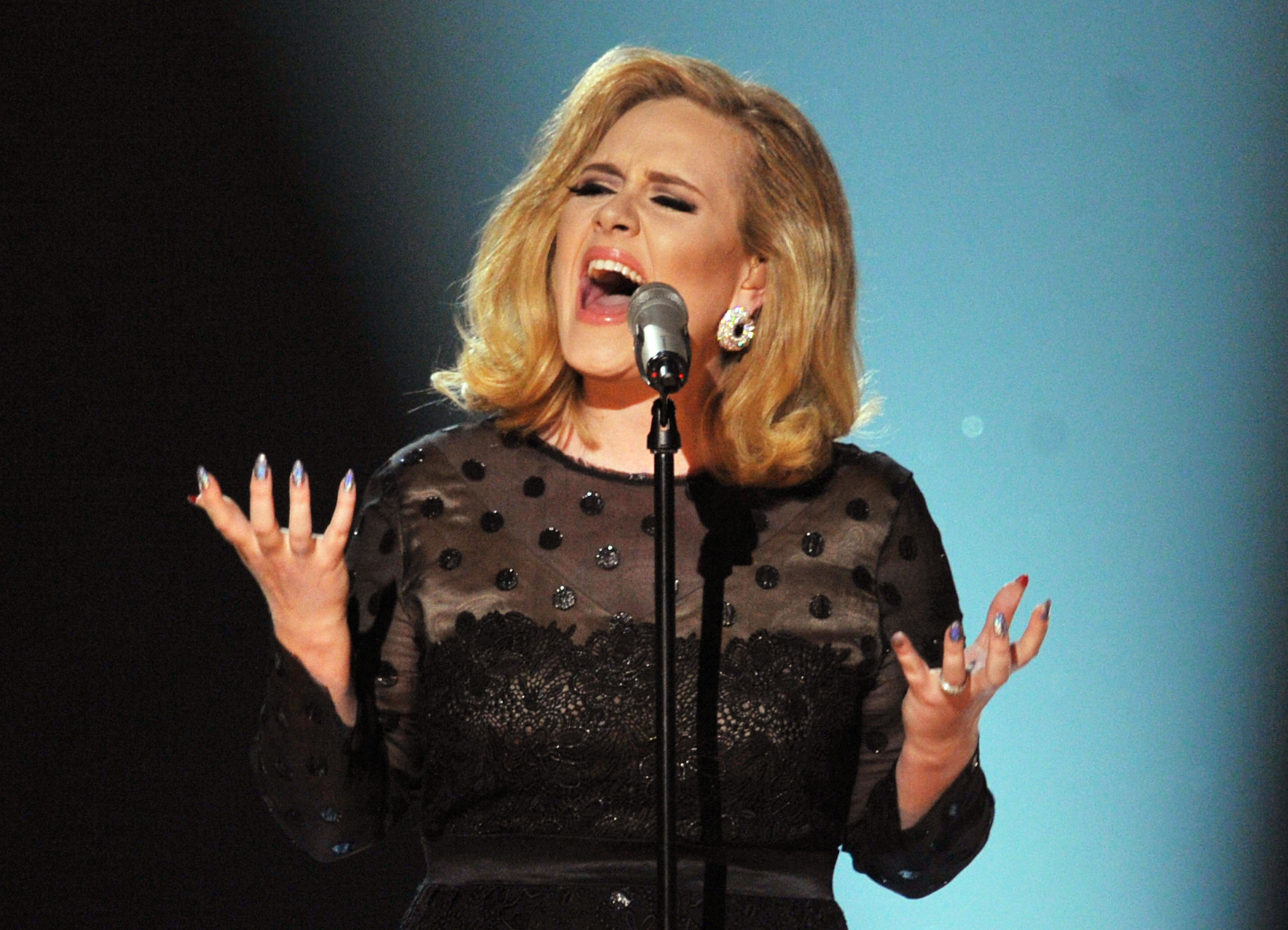 Adele performs onstage at the 54th Annual GRAMMY Awards held at Staples Center on February 12, 2012 in Los Angeles, California.