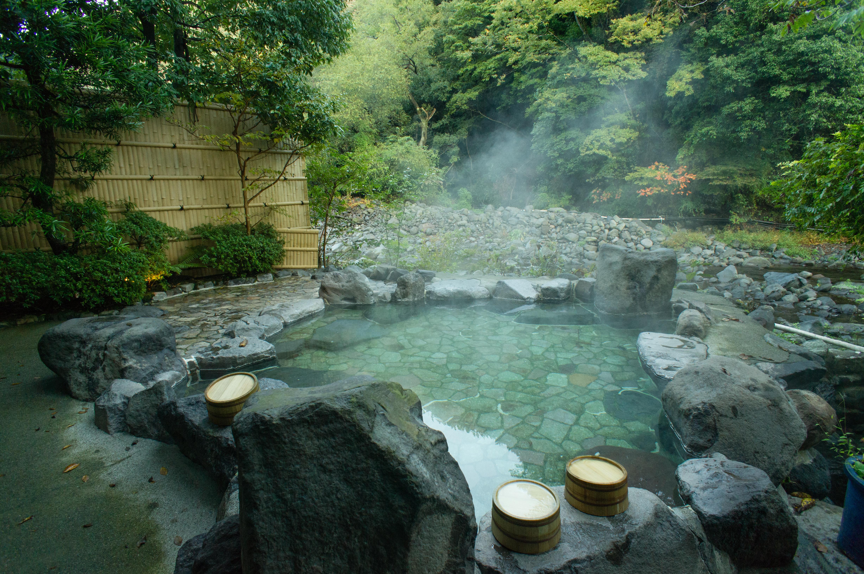 Natural hot spring bath in Hakone, Japan