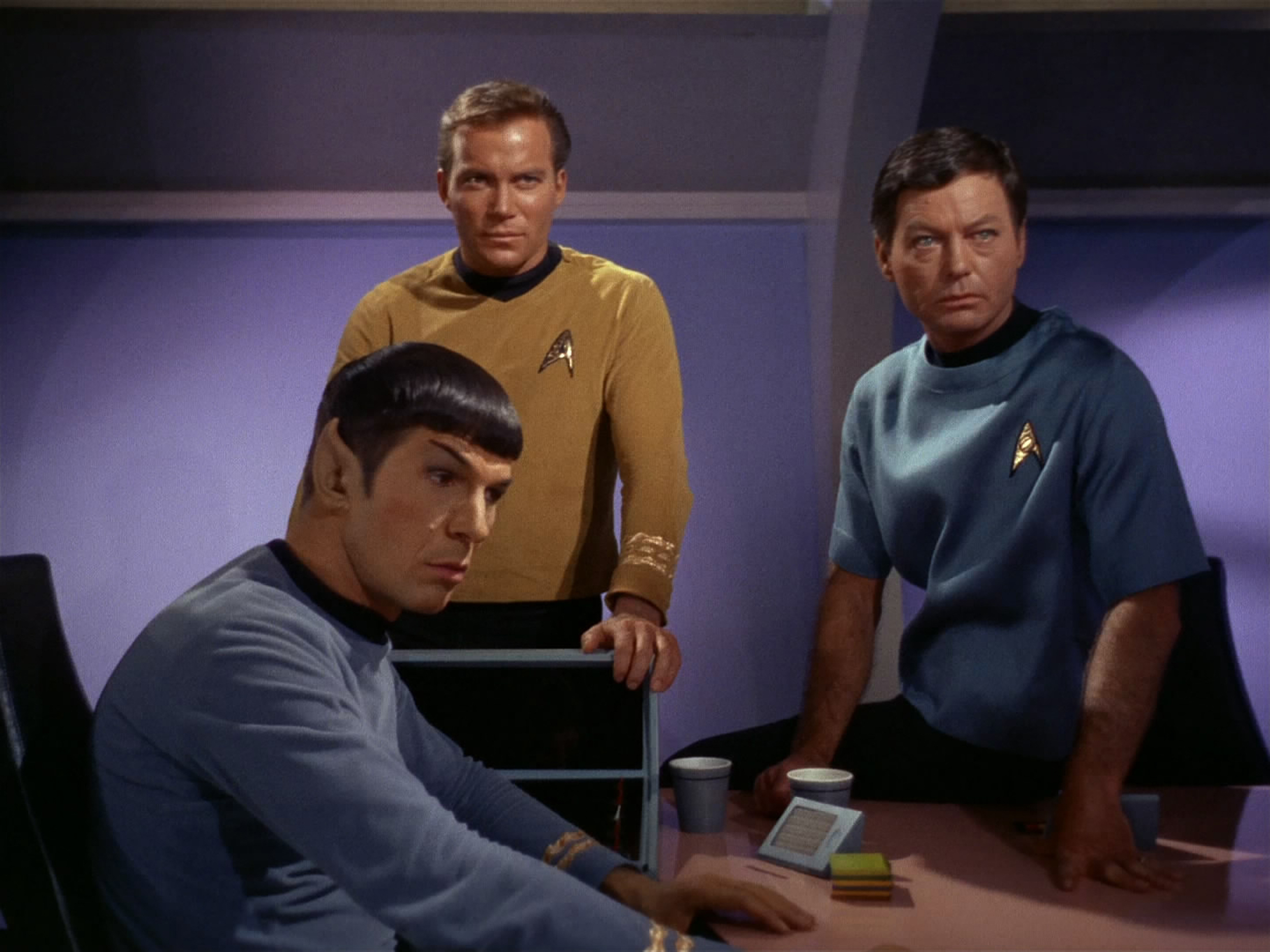 Leonard Nimoy as Mr. Spock, William Shatner as Captain James T. Kirk and DeForest Kelley as Dr. McCoy in the STAR TREK episode,  Charlie X.   Season 1, episode, 2.  Original air date Sept. 15, 1966