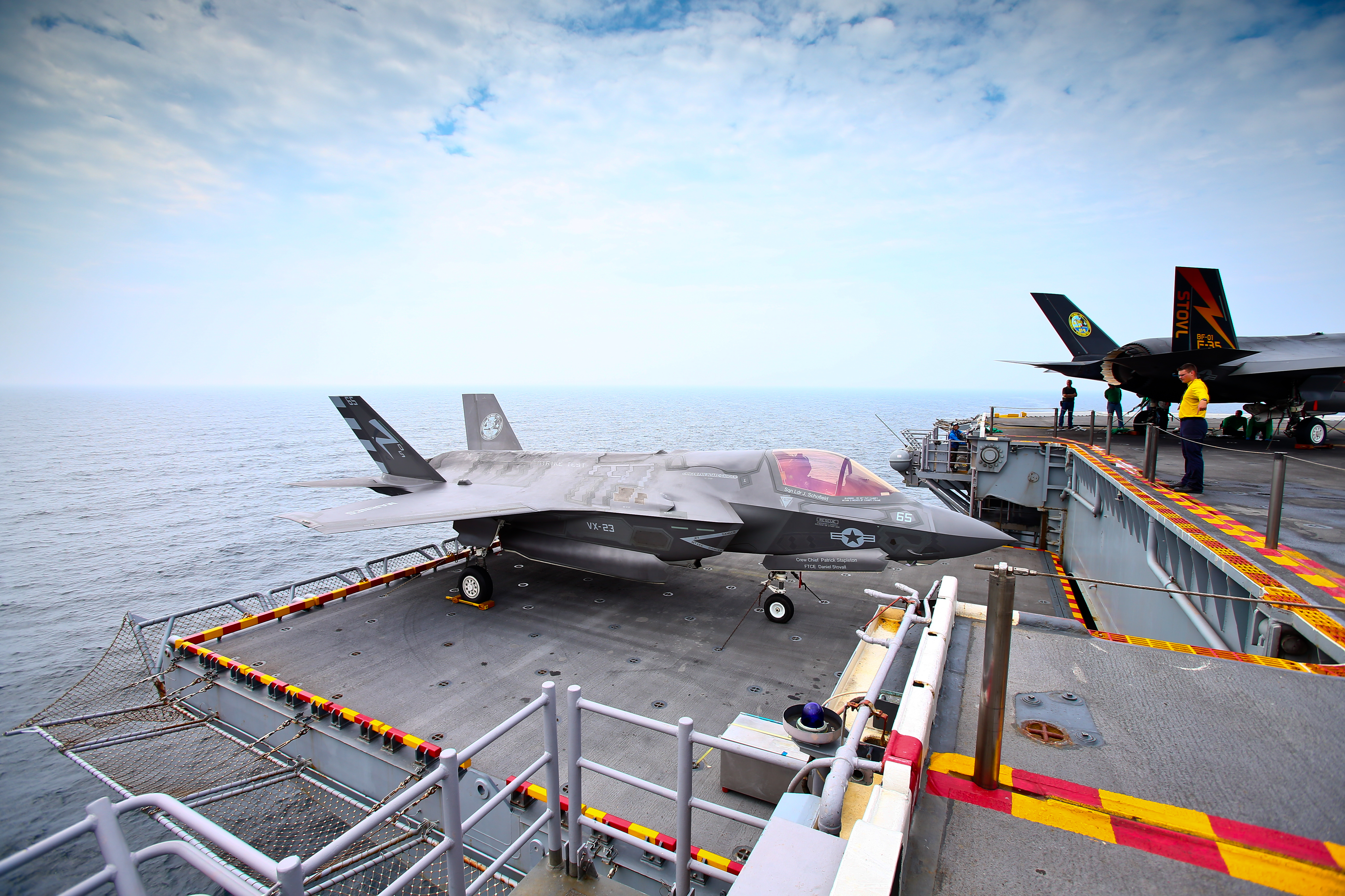 Joint Strike Fighter F-35 Lightning II on the deck of USS Wasp on Aug. 28, 2013 at sea off the coast of Virginia
