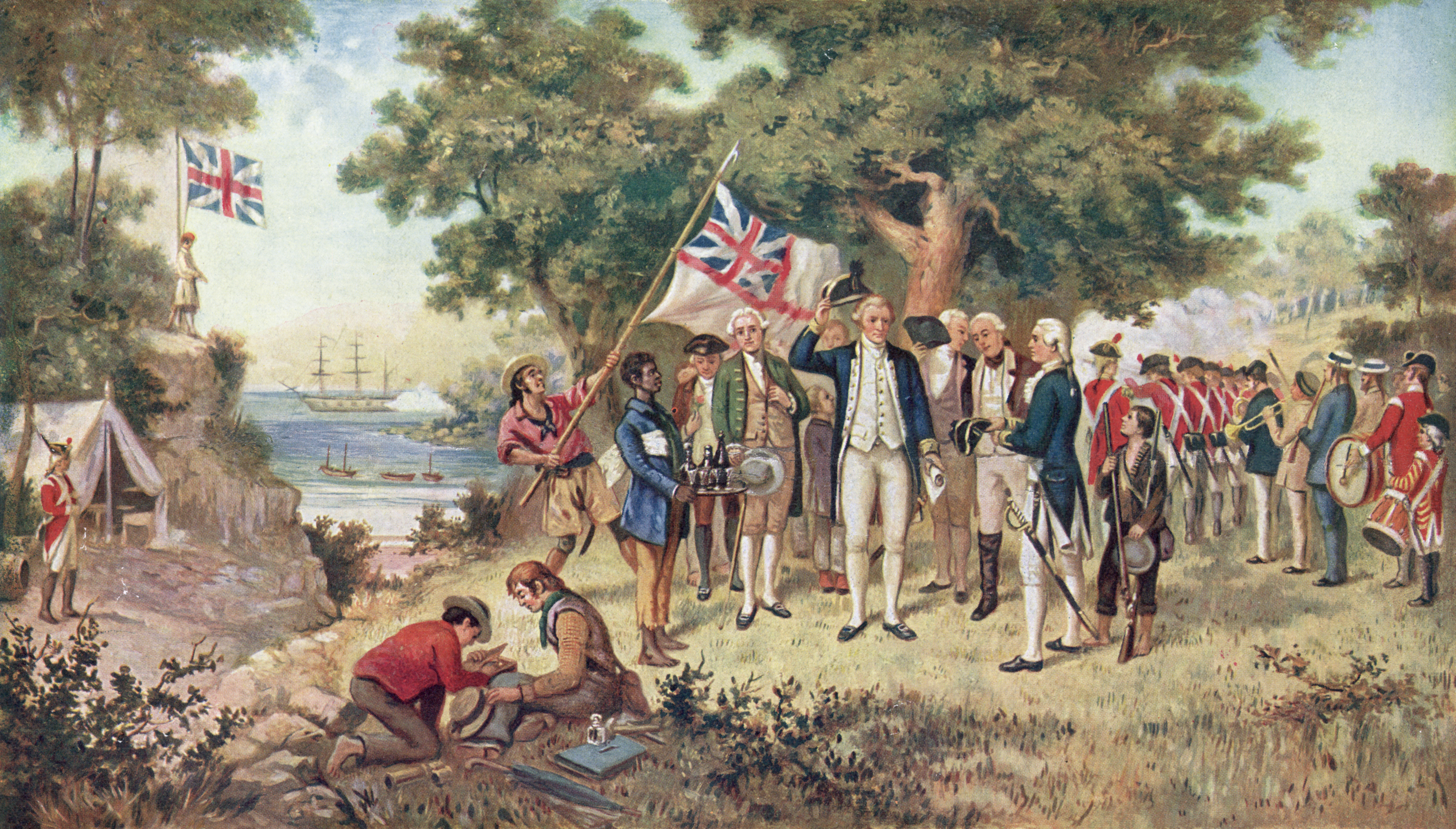1st April 1770:  A print from a painting showing Captain James Cook (1728 - 1779) taking possession of New South Wales, taken from the collection of the Philosophical Institute of Victoria