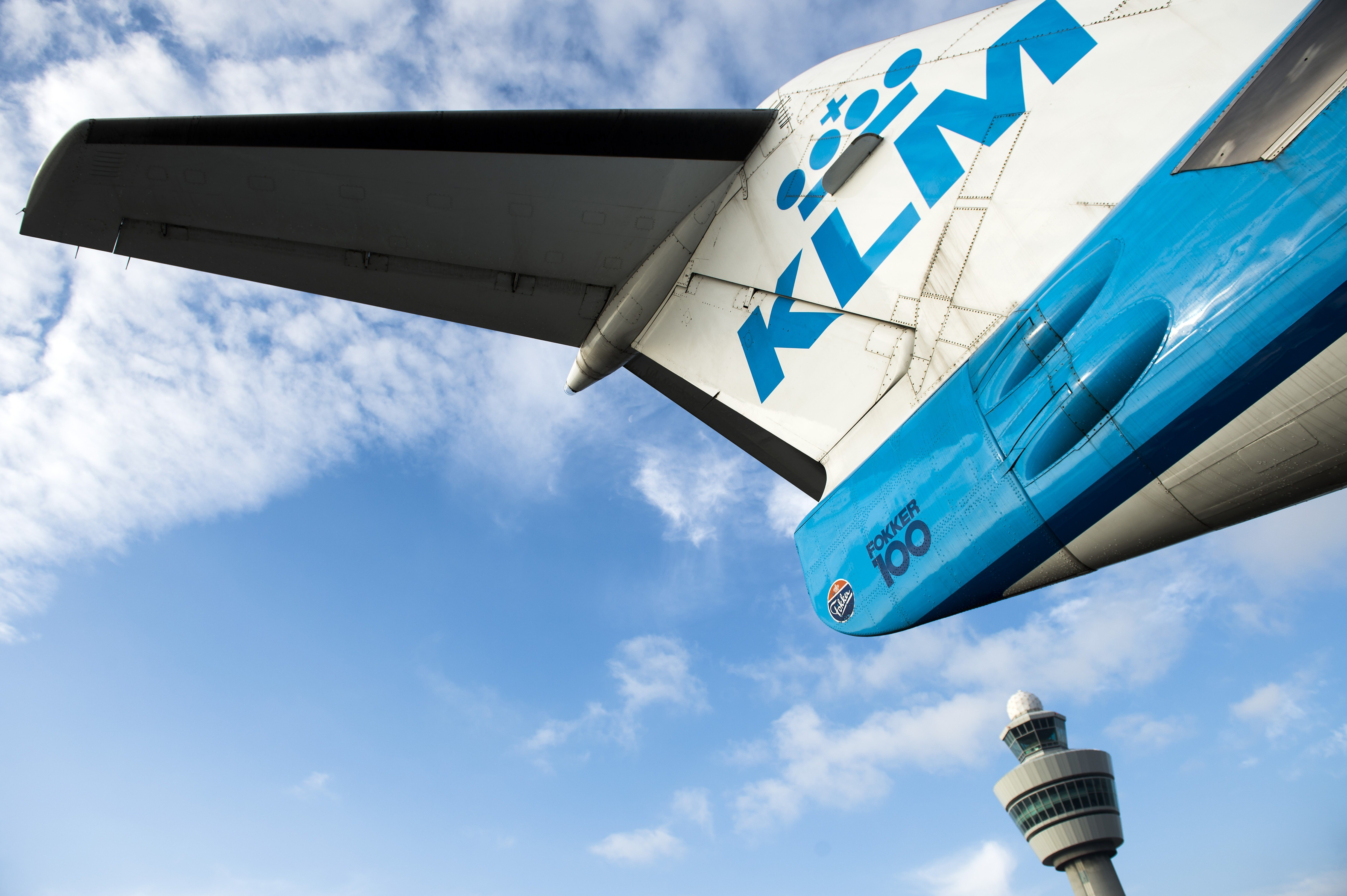A KLM aircraft is pictured at the Schiphol airport on October 16, 2014.