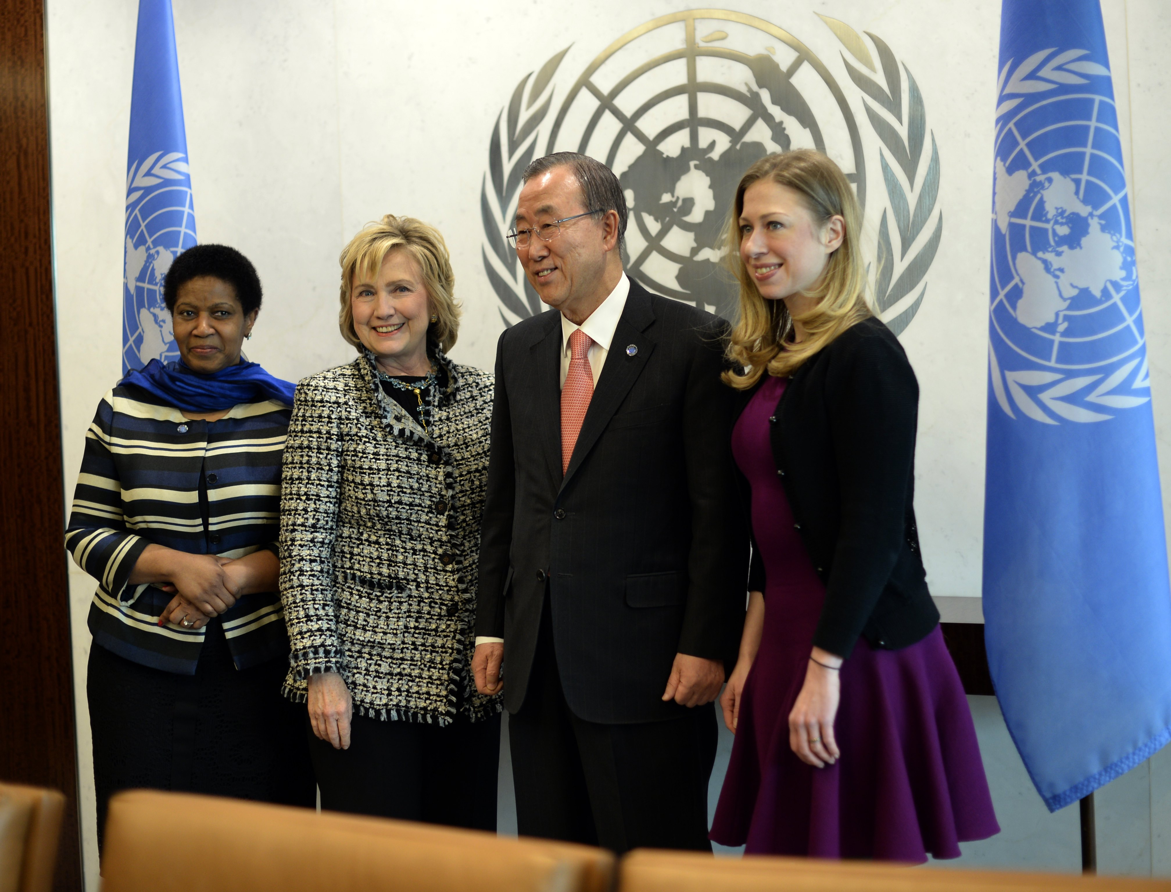 UN Secretary-General Ban Ki- moon (2nd R) meets with UN Women Executive Director  Phumzile Mlambo-Ngcuka (L), former US Secretary of State Hillary Clinton (2nd L) and her daughter Chelsea Clinton at United Nations headquarters in New York on February 4, 2014.    (TIMOTHY A. CLARY--AFP/Getty Images)
