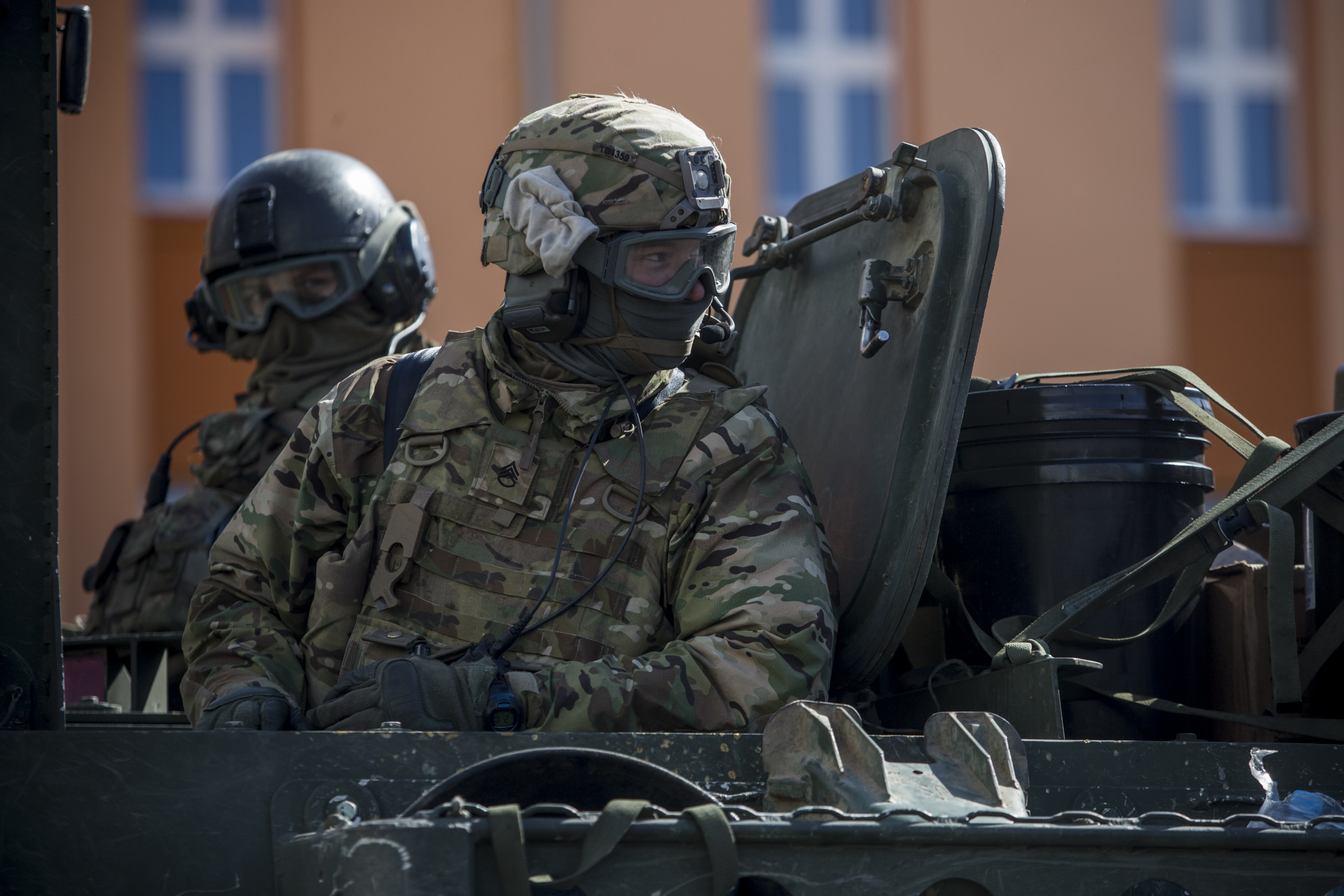 U.S. Army soldiers of the 3rd Squadron, 2nd Cavalry Regiment arrive at Czech army barracks on March 30, 2015, in Prague