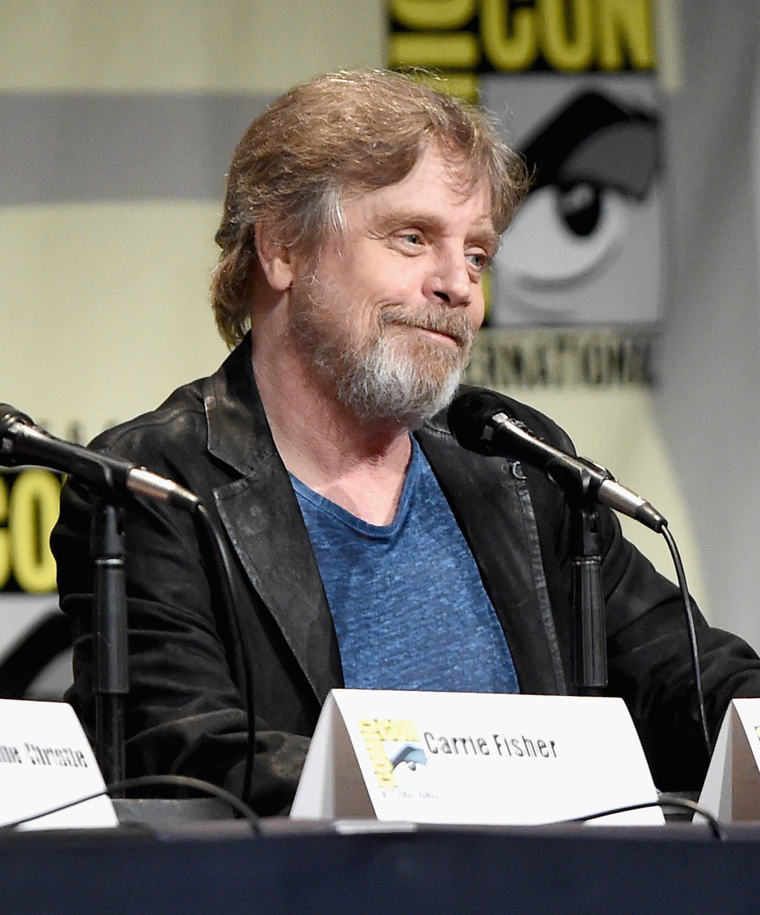 "Actor Mark Hamill at the Hall H Panel for ""Star Wars: The Force Awakens"" during Comic-Con International 2015 at the San Diego Convention Center on July 10, 2015 in San Diego, California.  (Michael Buckner--Getty Images for Disney)"