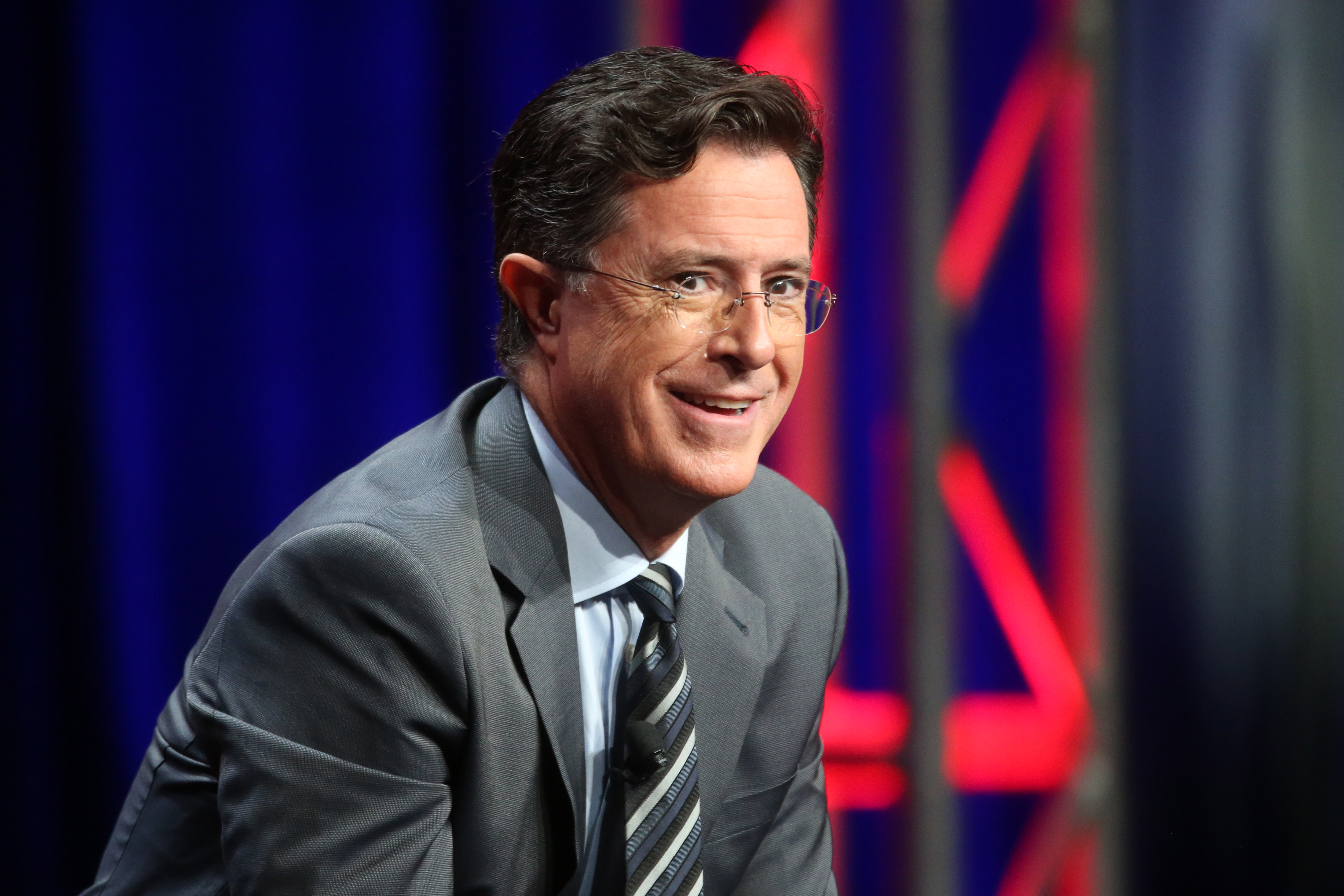 Stephen Colbert onstage during the 'The Late Show with Stephen Colbert' panel discussion at the CBS portion of the 2015 Summer TCA Tour at The Beverly Hilton Hotel on August 10, 2015 in Beverly Hills, California.