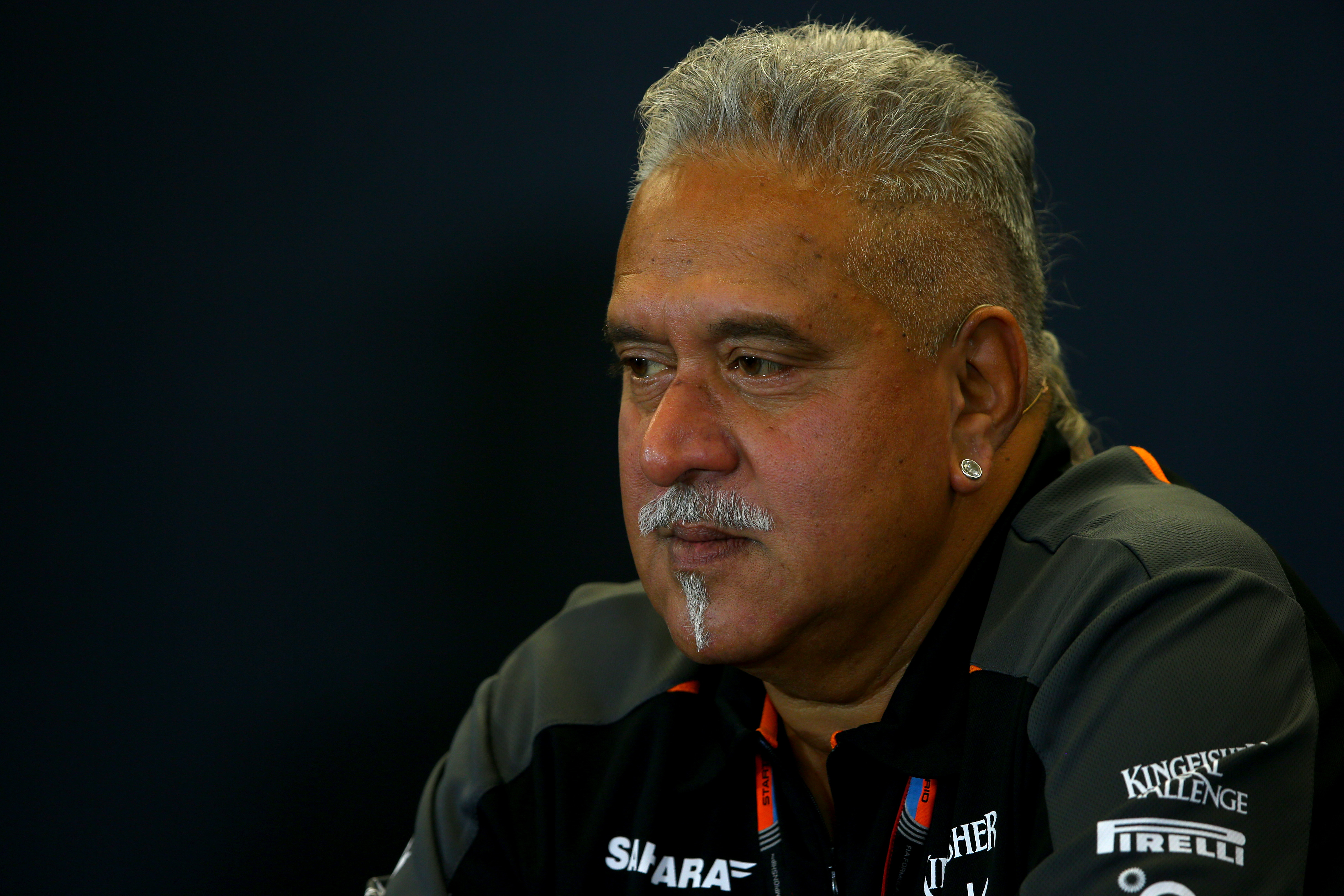 Indian tycoon Vijay Mallya attends a press conference after practice for the U.S. Formula One Grand Prix at Circuit of the Americas on Oct. 23, 2015 in Austin