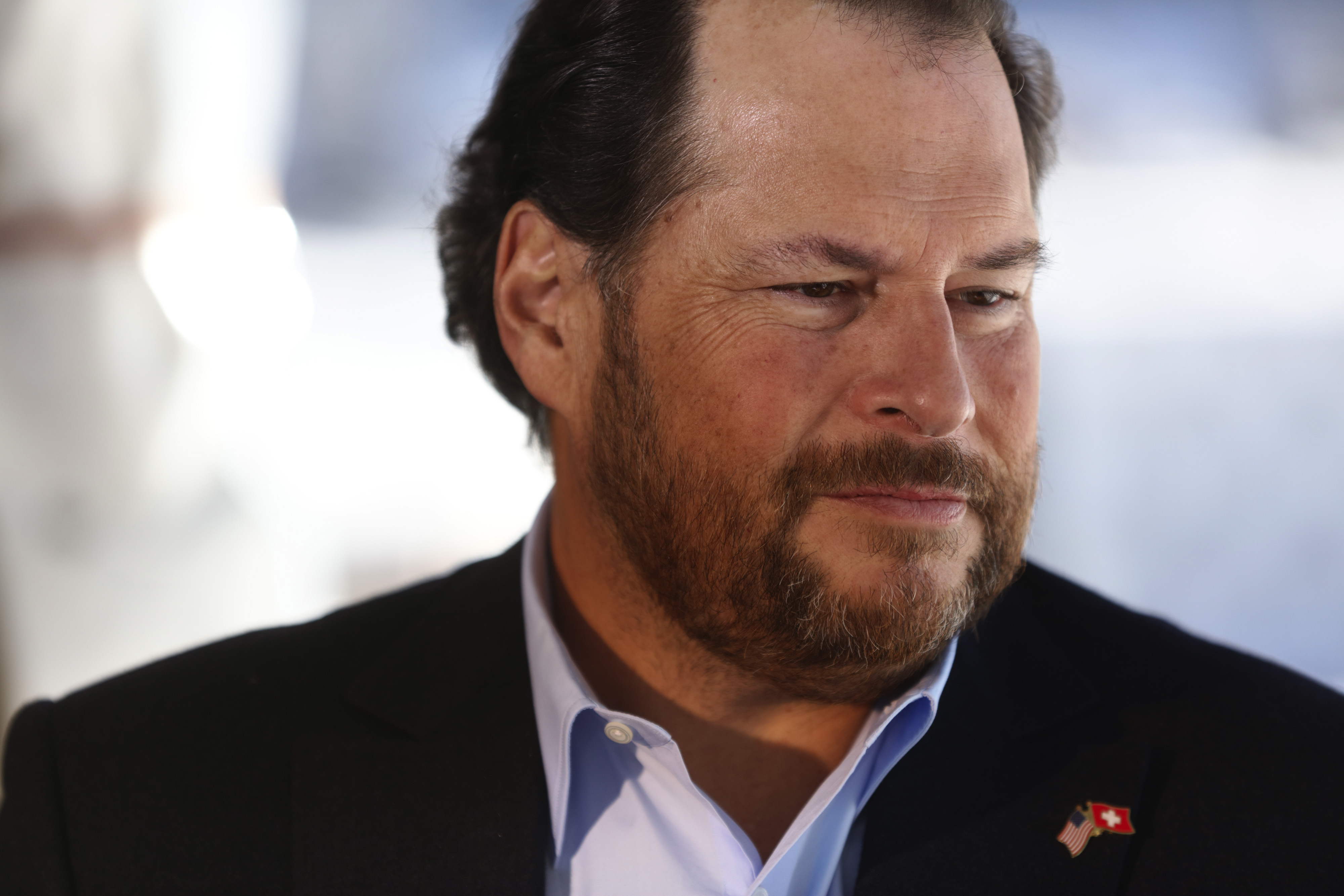 Marc Benioff looks on during a Bloomberg Television interview at the World Economic Forum in Davos, Switzerland, on Jan. 21, 2016.