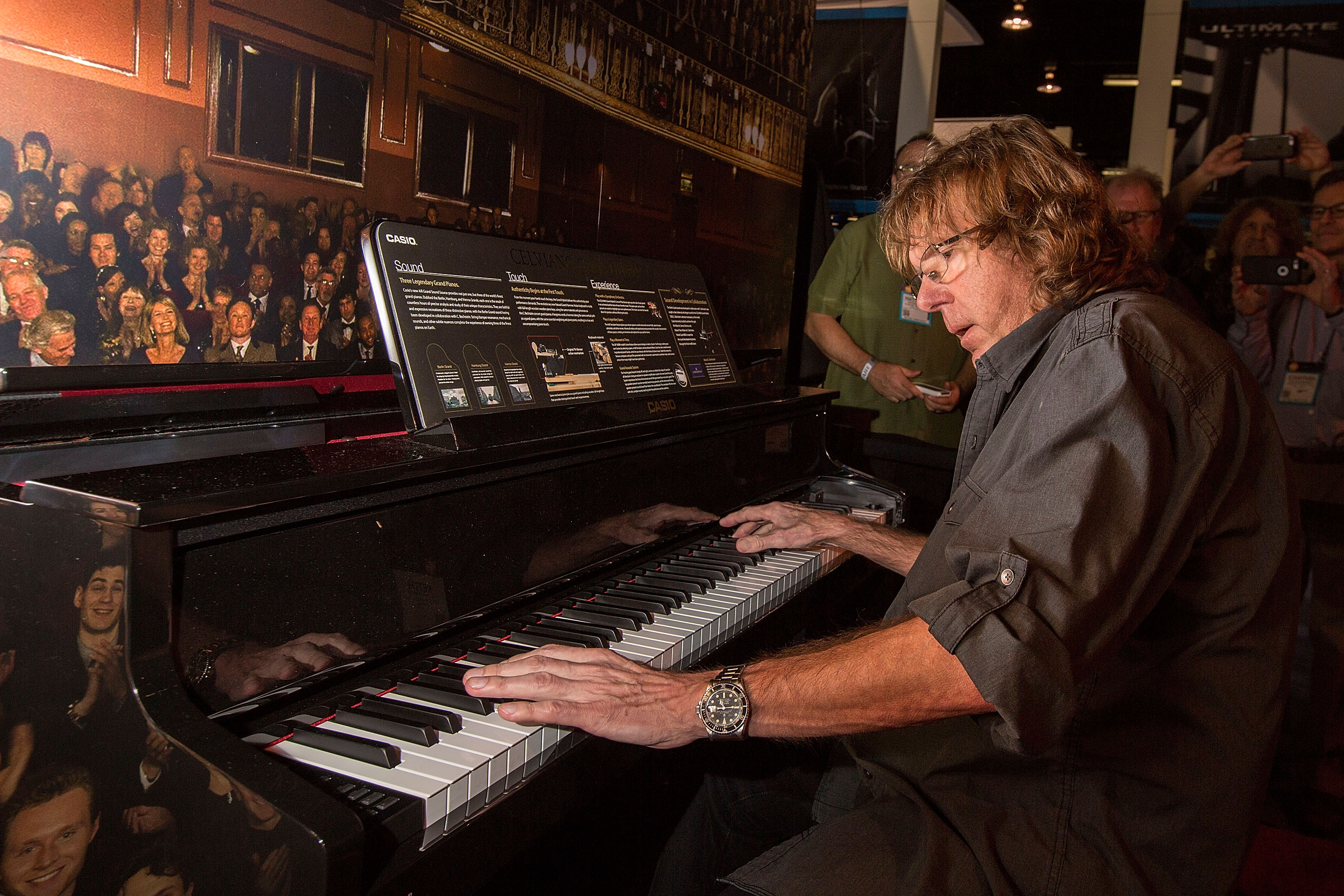 Keyboardist Keith Emerson of Emerson, Lake & Palmer performs at the NAMM Show on Jan. 21, 2016 in Anaheim, California.