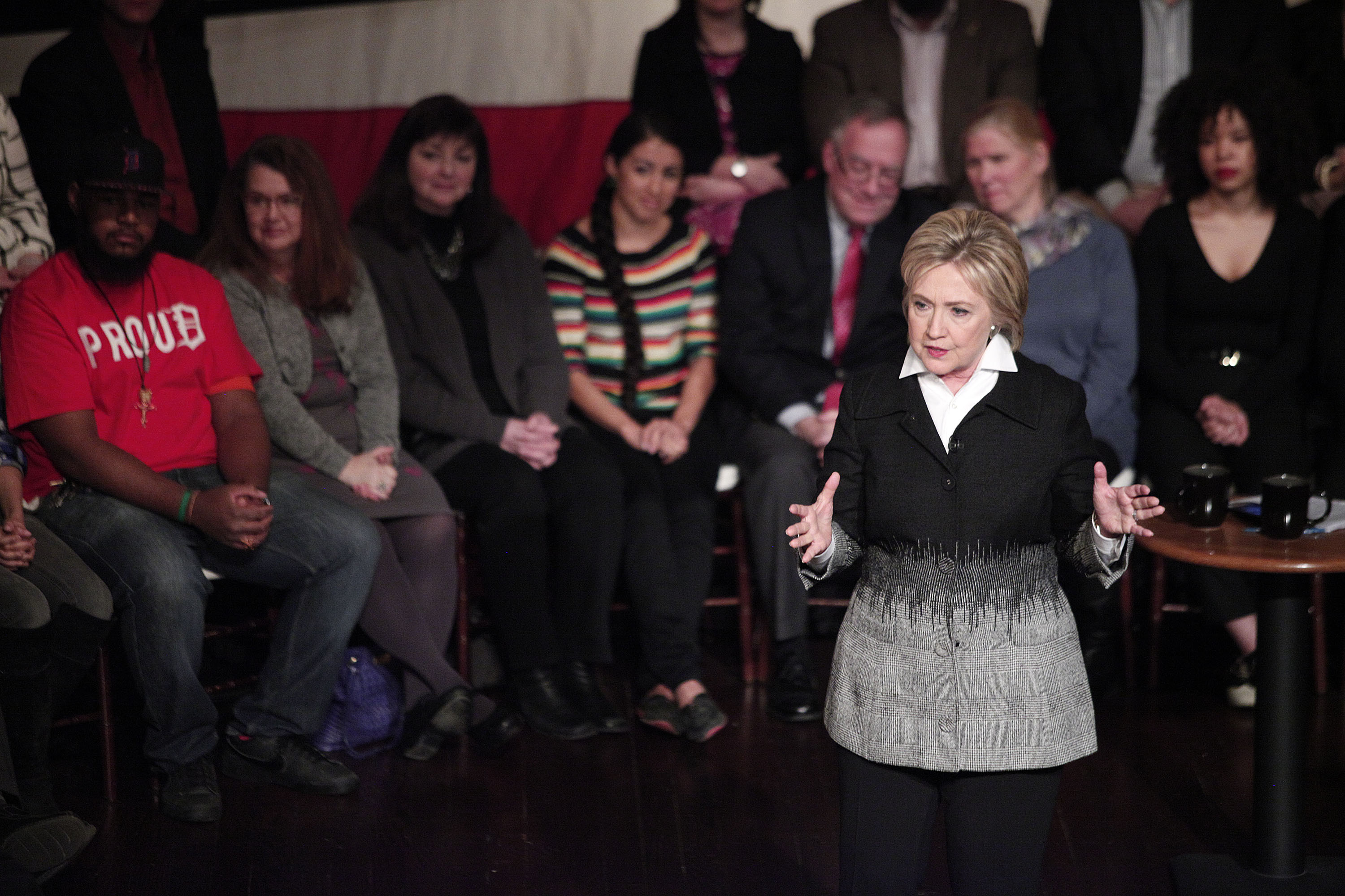 Democratic presidential candidate Hillary Clinton participates in a Fox News Democratic Town Hall March 7, 2016 in Detroit, Michigan.