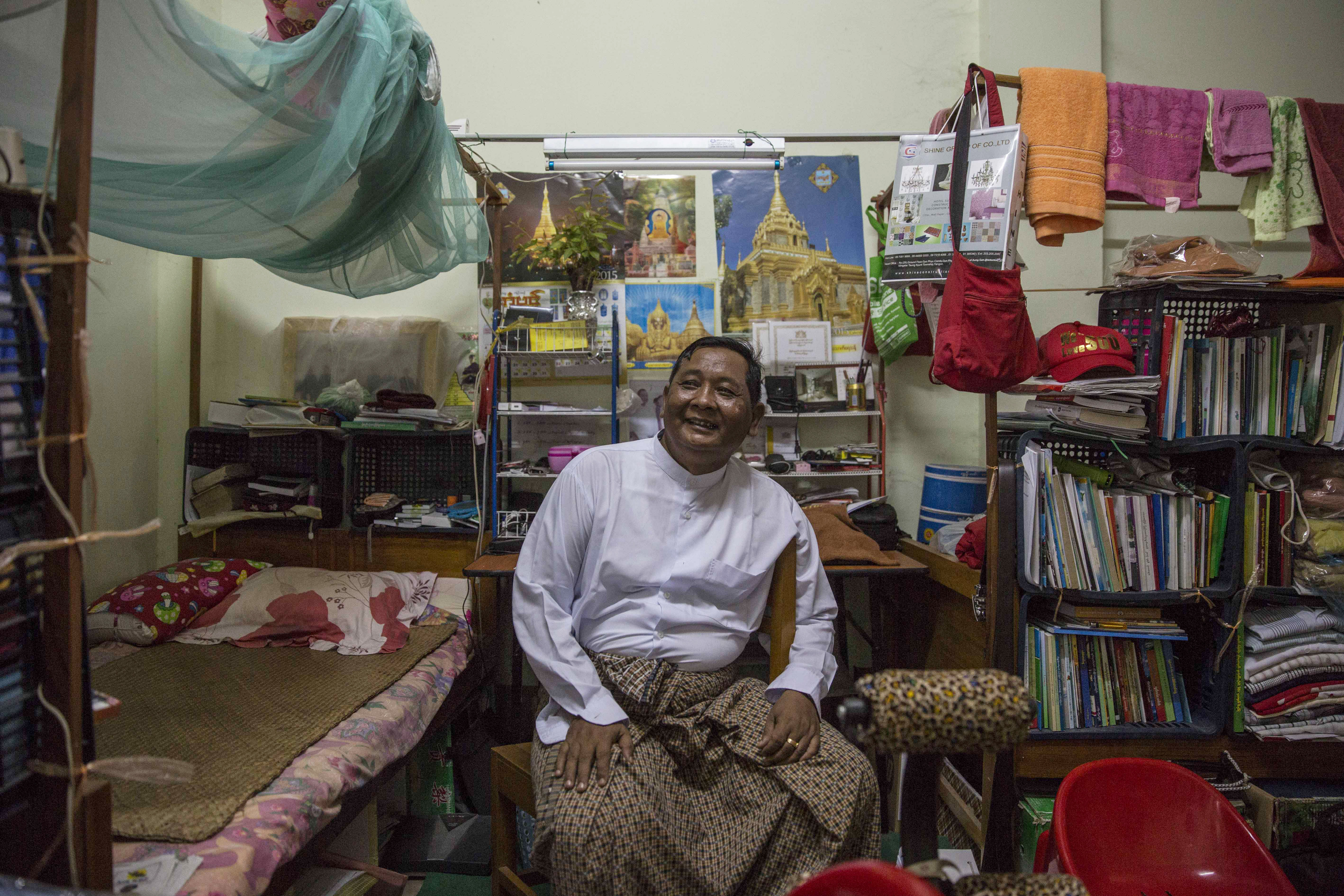 An NLD member of parliament sits in his dormitory room at the Sibin Guesthouse on March 9, 2016, in Naypyidaw, Burma