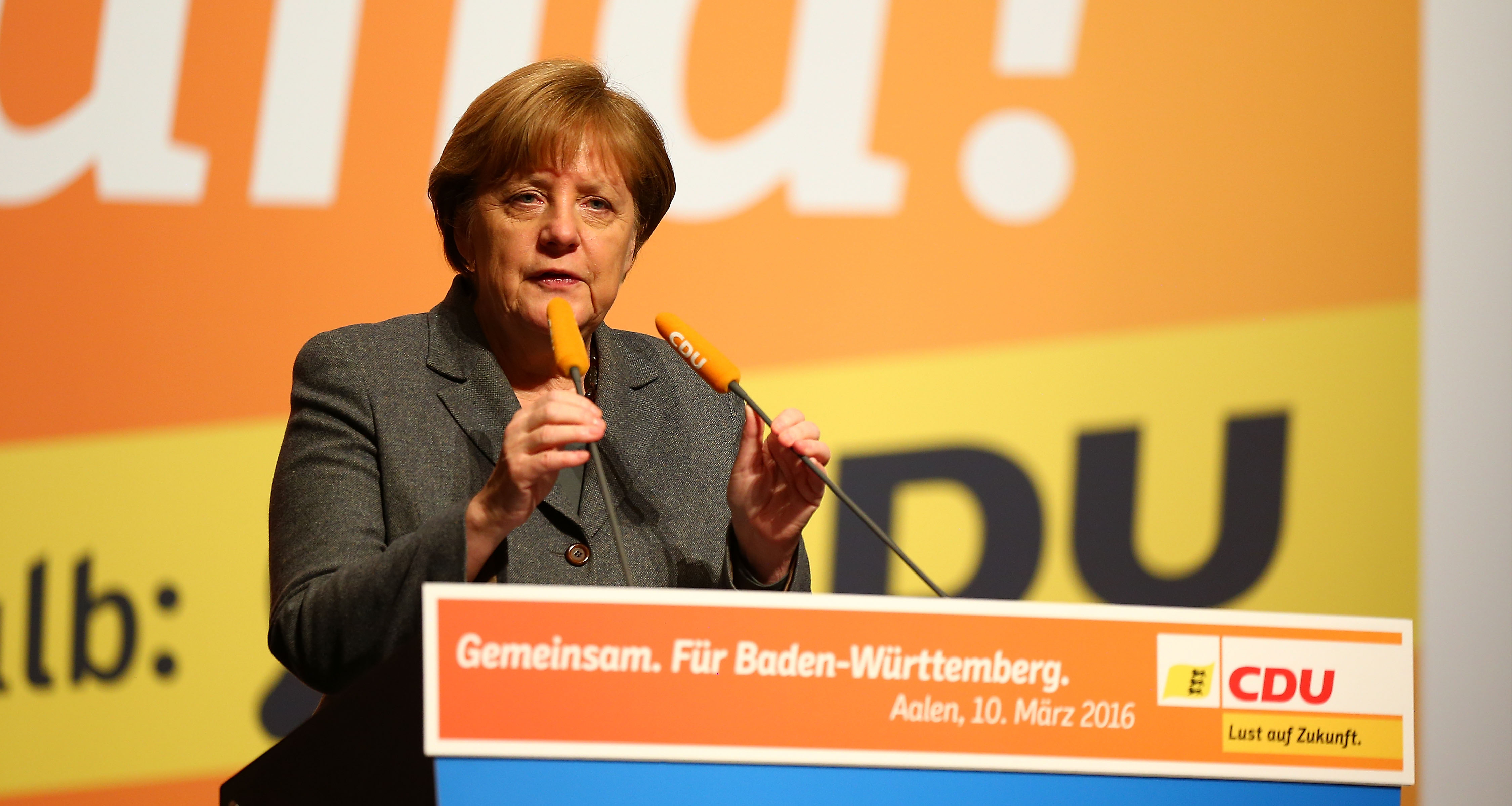 German Chancellor and Chairwoman of the German Christian Democrats (CDU) Angela Merkel speaks to supporters at a CDU campaign rally ahead of Baden-Wuerttemberg state elections on March 10, 2016 in Aalen, Germany.