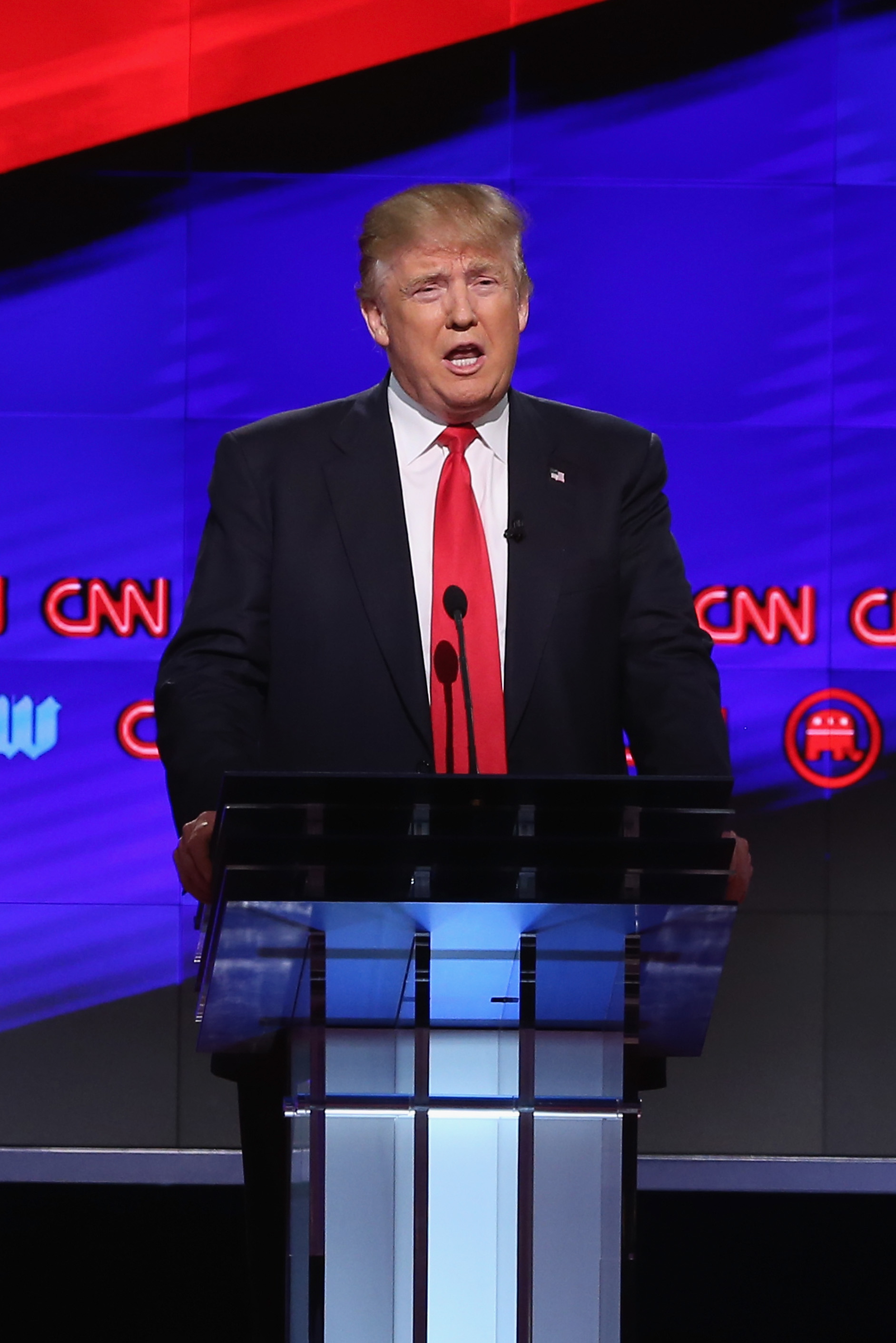 Donald Trump  during the CNN, Salem Media Group, The Washington Times Republican Presidential Primary Debate on the campus of the University of Miami on March 10, 2016 in Coral Gables, Florida.  (Joe Raedle--Getty Images)