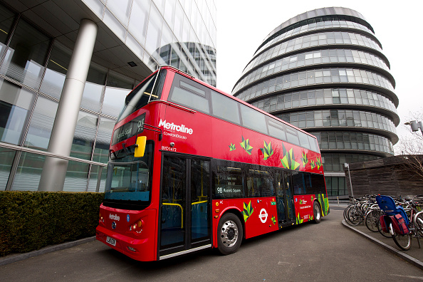 An electric London bus is pictured during a photocall to promote the world's first purpose-built fully electric double-deck bus, in London on March 15, 2016.                       The bus, operated by Transport for London (TfL), and made by Chinese manufacturers BYD, is due to go into service next month. / AFP / JUSTIN TALLIS        (Photo credit should read JUSTIN TALLIS/AFP/Getty Images)