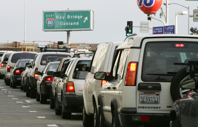 Cars sit in traffic February 17, 2005 in San Francisco, California.
