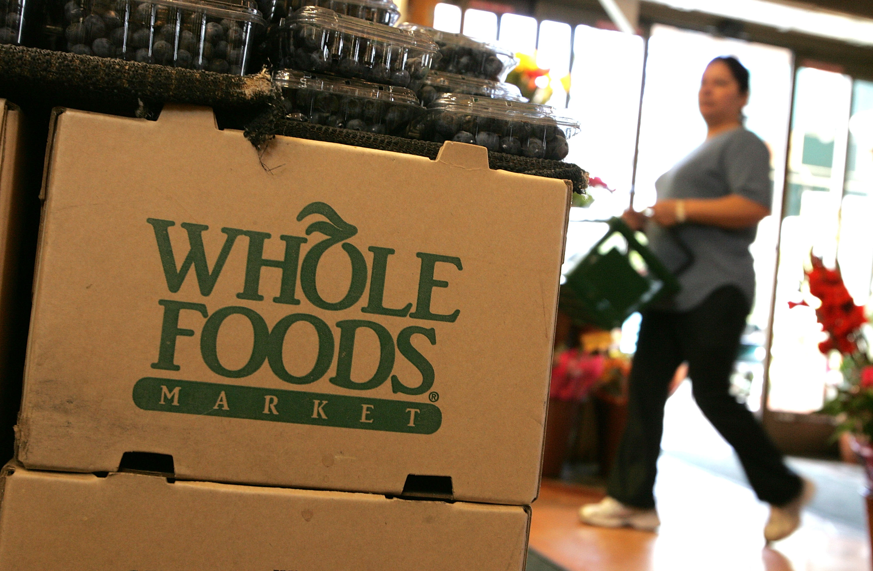 The Whole Foods logo adorns a cardboard box at a Whole Foods Market February 22, 2007 in San Francisco, California.